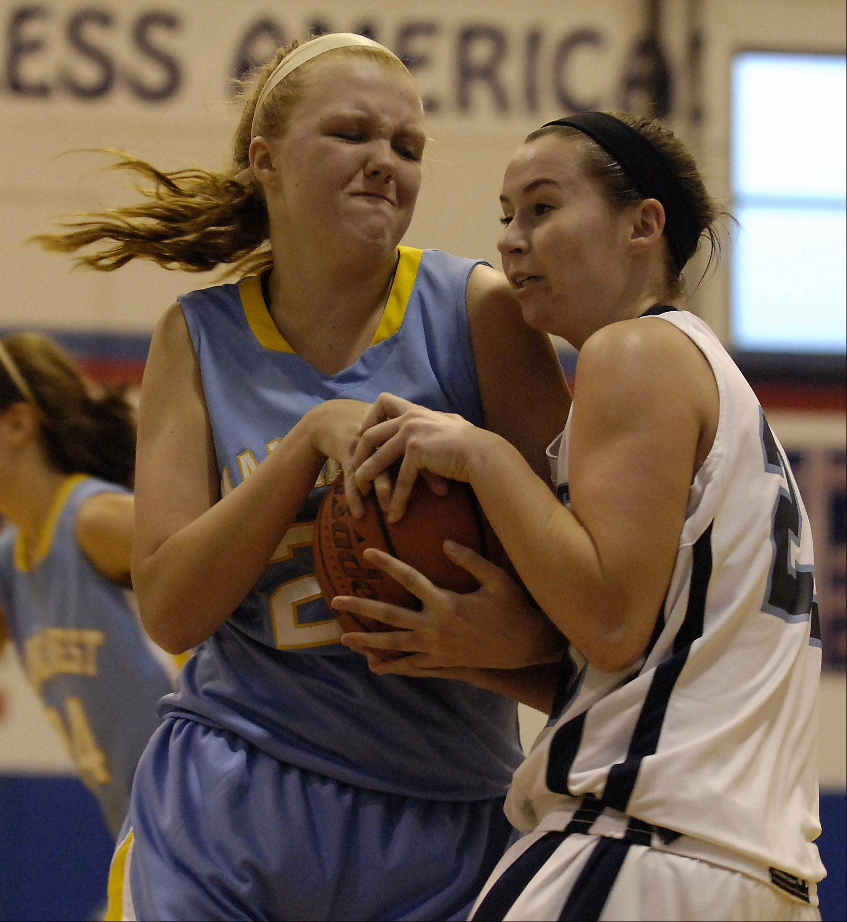 Maine West's Ashley Collins and Prospect's Michele Molini fight for the ball during Monday's basketball game in Carpentersville.