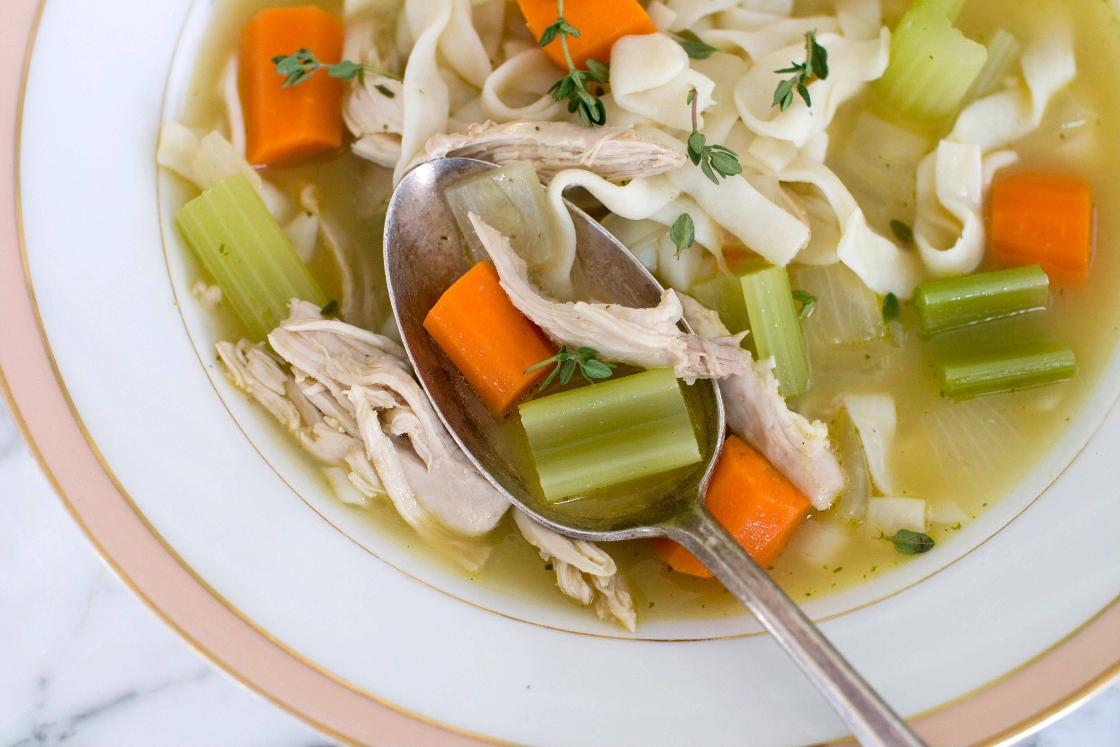 This chicken noodle soup uses real chicken and fresh vegetables, like carrots and onions, which are a great source of vitamins.