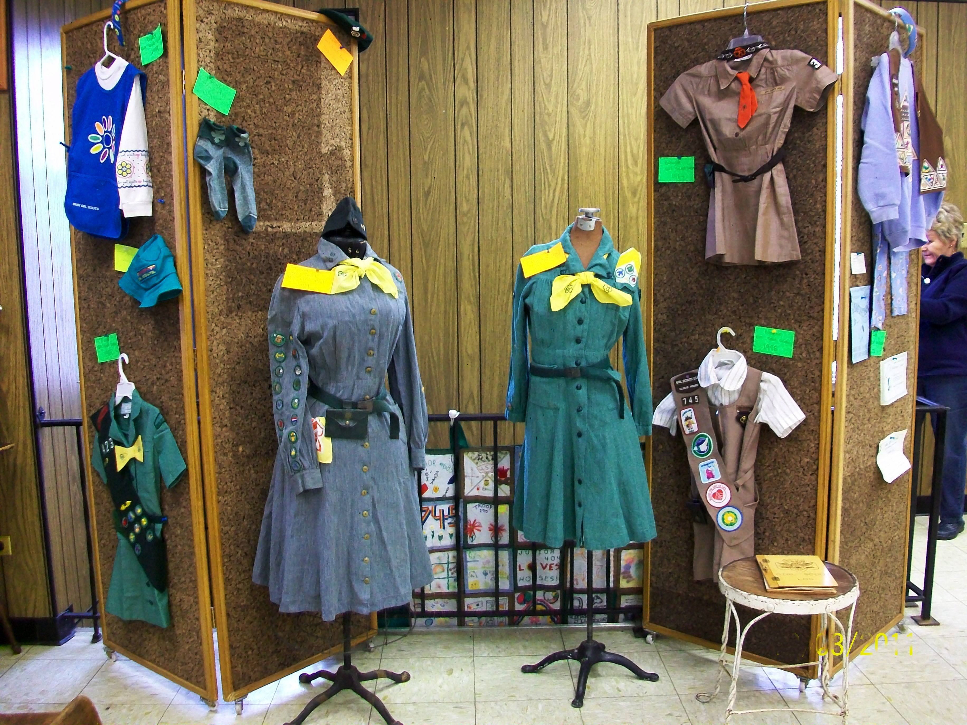Girl Scout uniforms, badges, projects and memorabilia from the past are part of a display at the Ela Historical Society and Museum. The Girl Scouts will be celebrating 100 years in February.