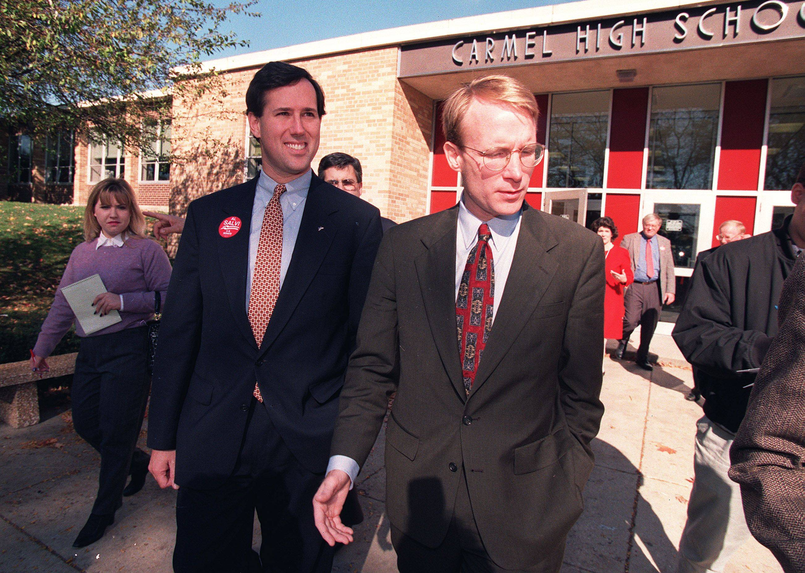 Then a freshman senator, Rick Santorum, left, campaigned for Al Salvi's own senate bid in 1996. Both attended Carmel Catholic High School in the 1970s.