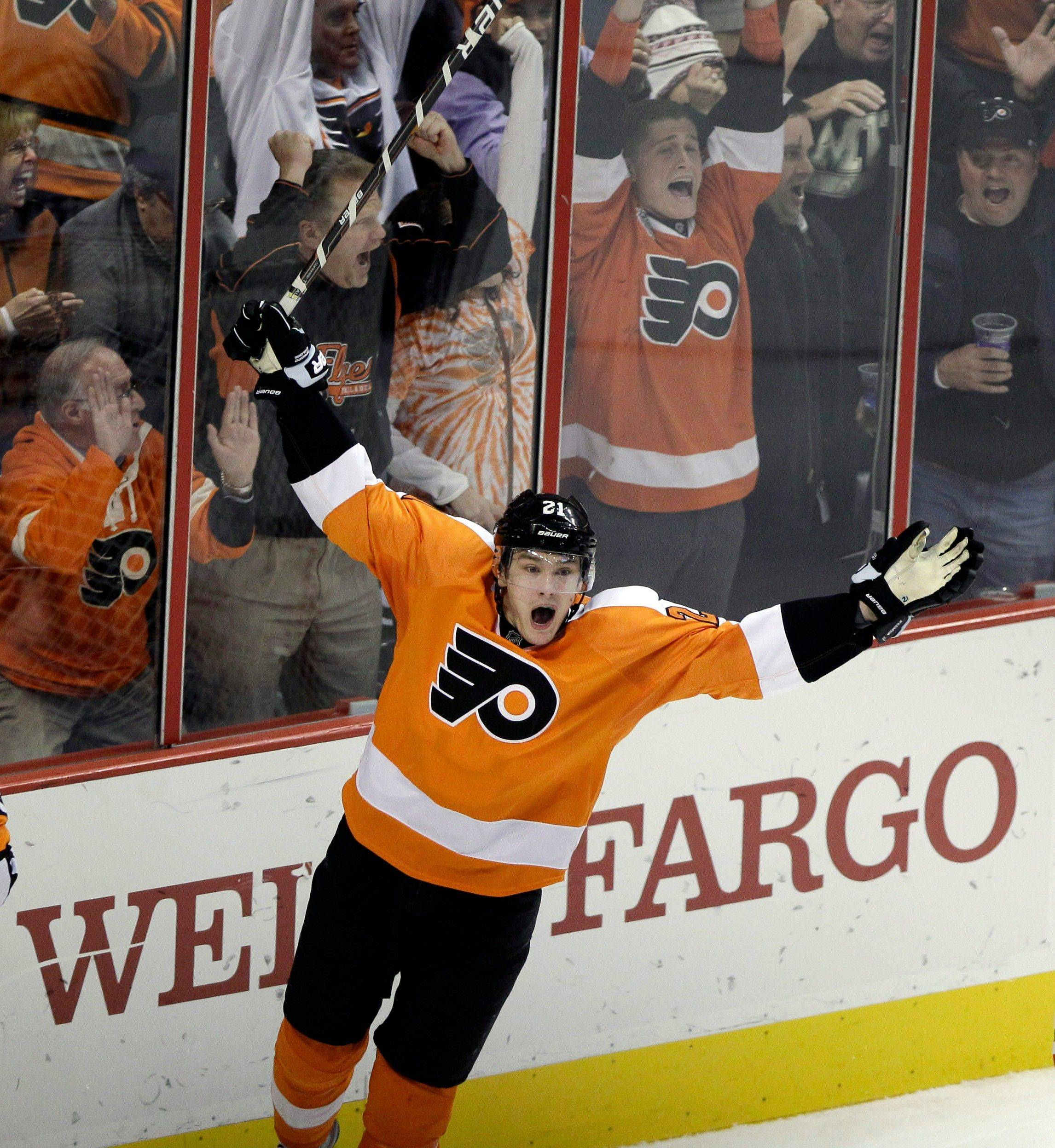 The Flyers' James van Riemsdyk celebrates his game-winning goal with 33 seconds left in the third period Thursday night.