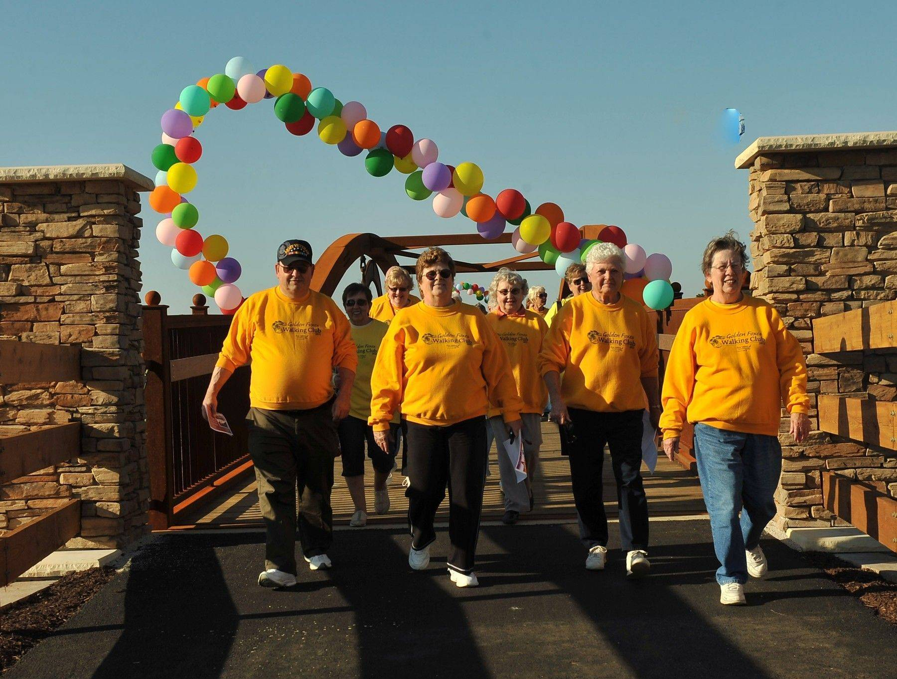 The Golden Foxes Walking Club and users of the Virgil Gilman Trail have enjoyed greater safety and peace mind with the new bridge crossing at Galena Boulevard, one of many Fox Valley Park District projects in 2011.