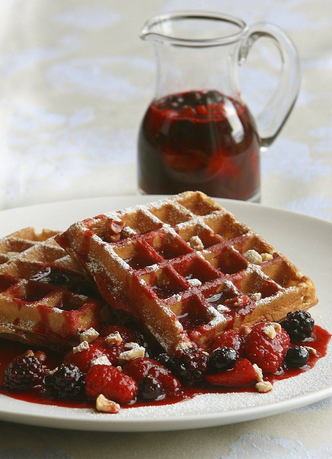 Hazelnut Waffles with Berry Coulis