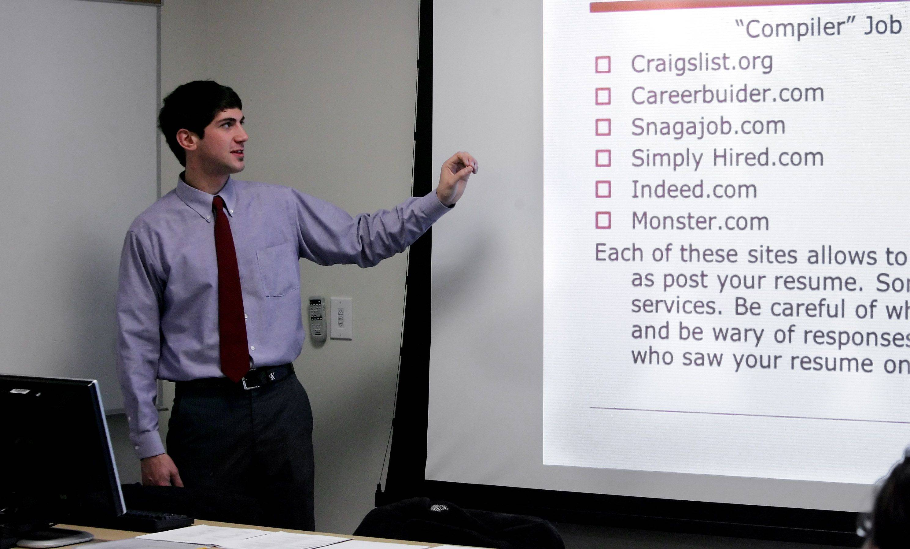 Employment specialist Michael Garamoni of Countryside Association discusses online job searches during a workshop at the Cook Park Library in Libertyville. Libraries have become resources for unemployed people during the nation's economic struggles.
