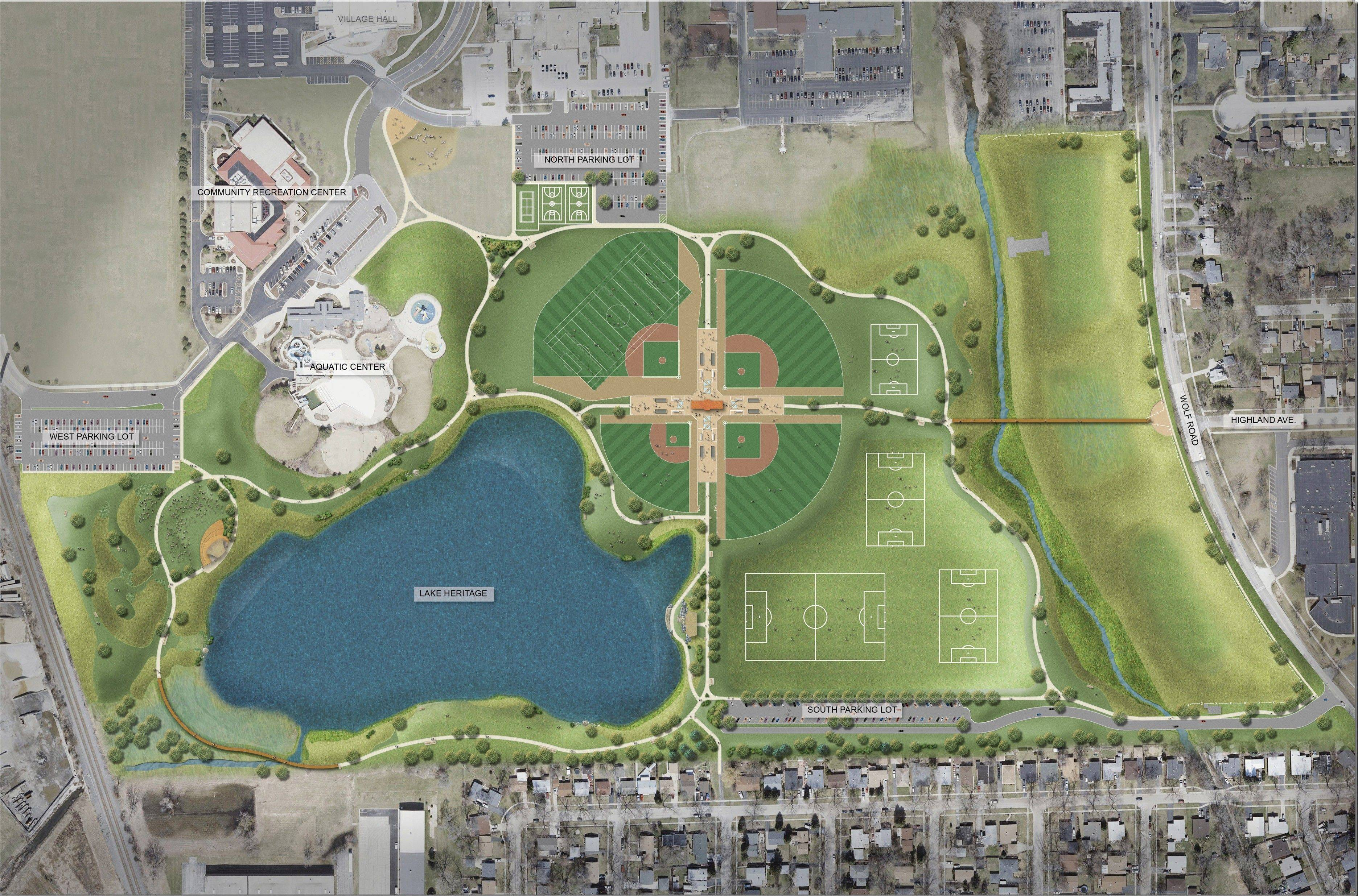This is a sketch of what the remodeled park will look like.