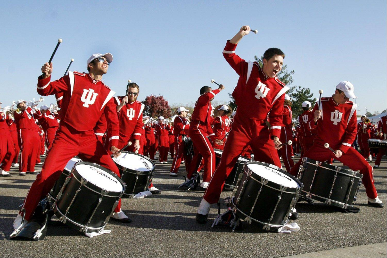 "The Marching Hundred entertains fans outside Memorial Stadium with its rendition of their signature song, ""Sing Sing Sing."""