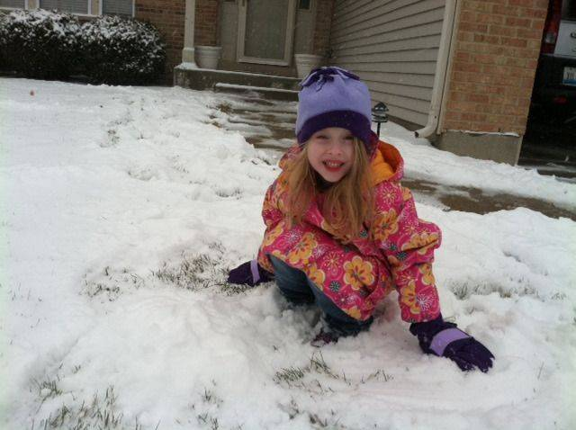 My daughter, Molly enjoying our first real snow of the winter!!