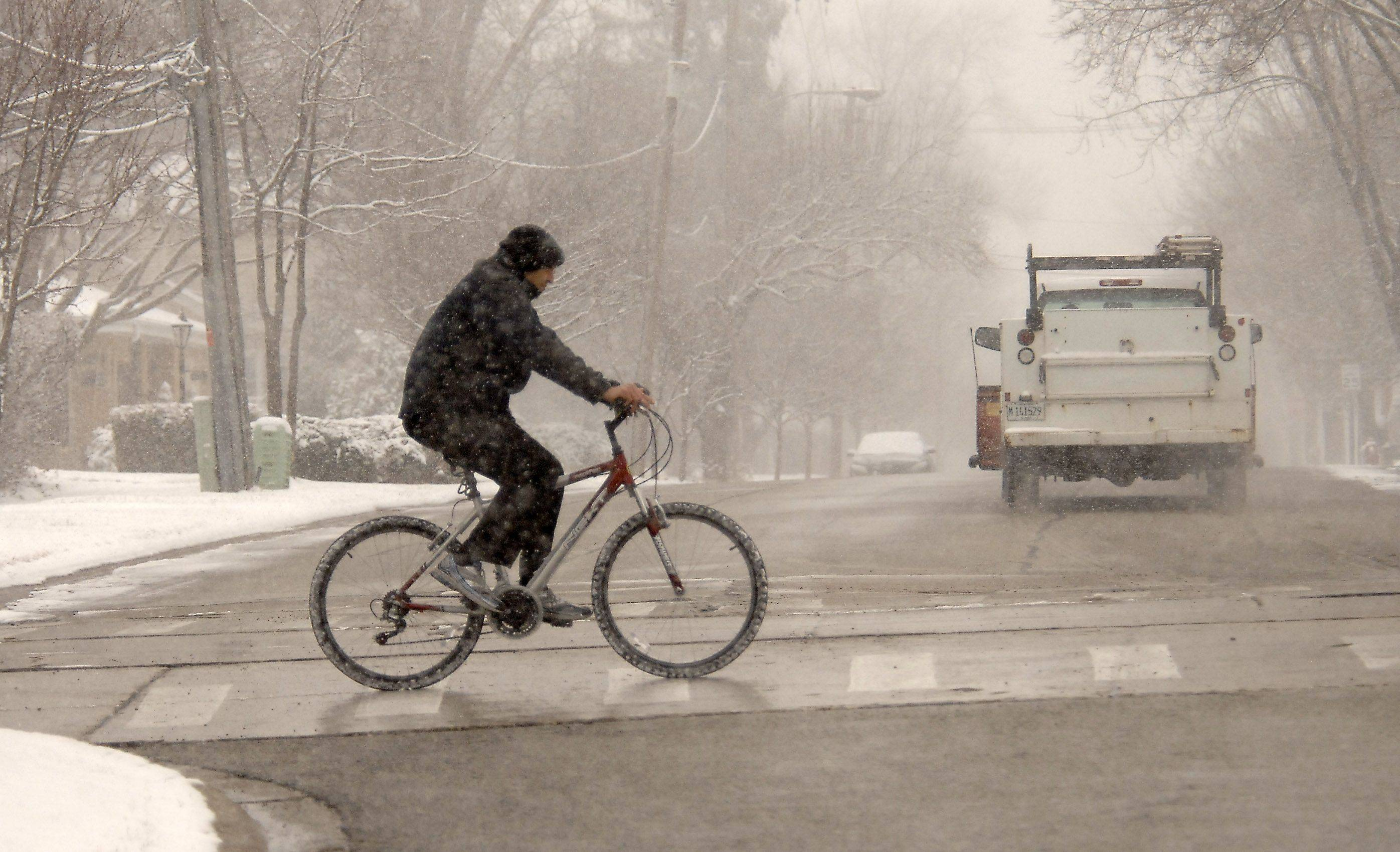 Roads remained clear enough for cyclists along Campbell Street in Arlington Heights Thursday afternoon.