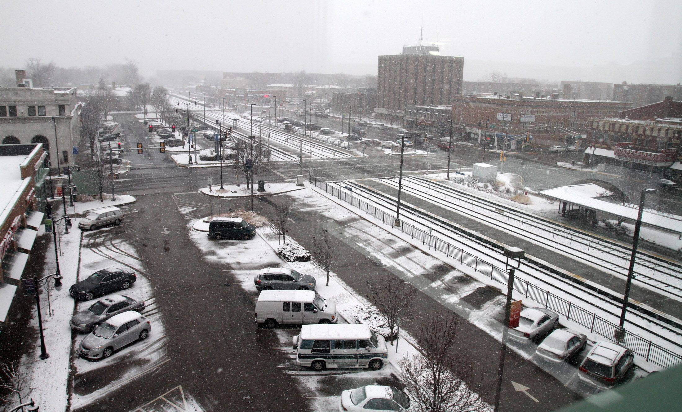 A view of Northwest Highway and City of Des Plaines Civic Center from the third floor of the Des Plaines Library.