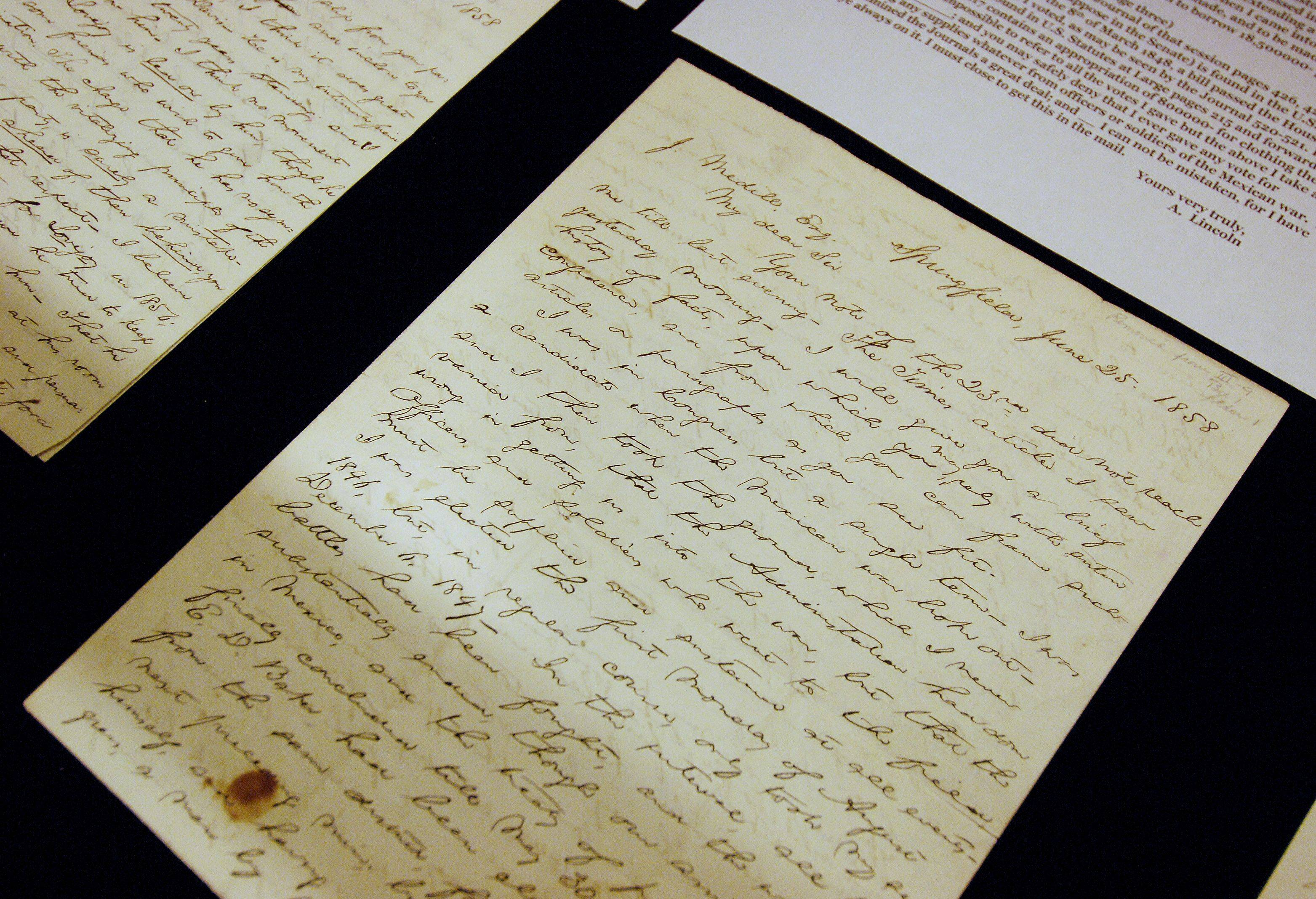 The Colonel Robert R. McCormick Research Center has original Abraham Lincoln letters on display in the reading room. The letters were written to Robert R. McCormick's grandfather, Joseph Medill, who ran the Chicago Tribune in the 1850s and was a supporter of Abraham Lincoln.