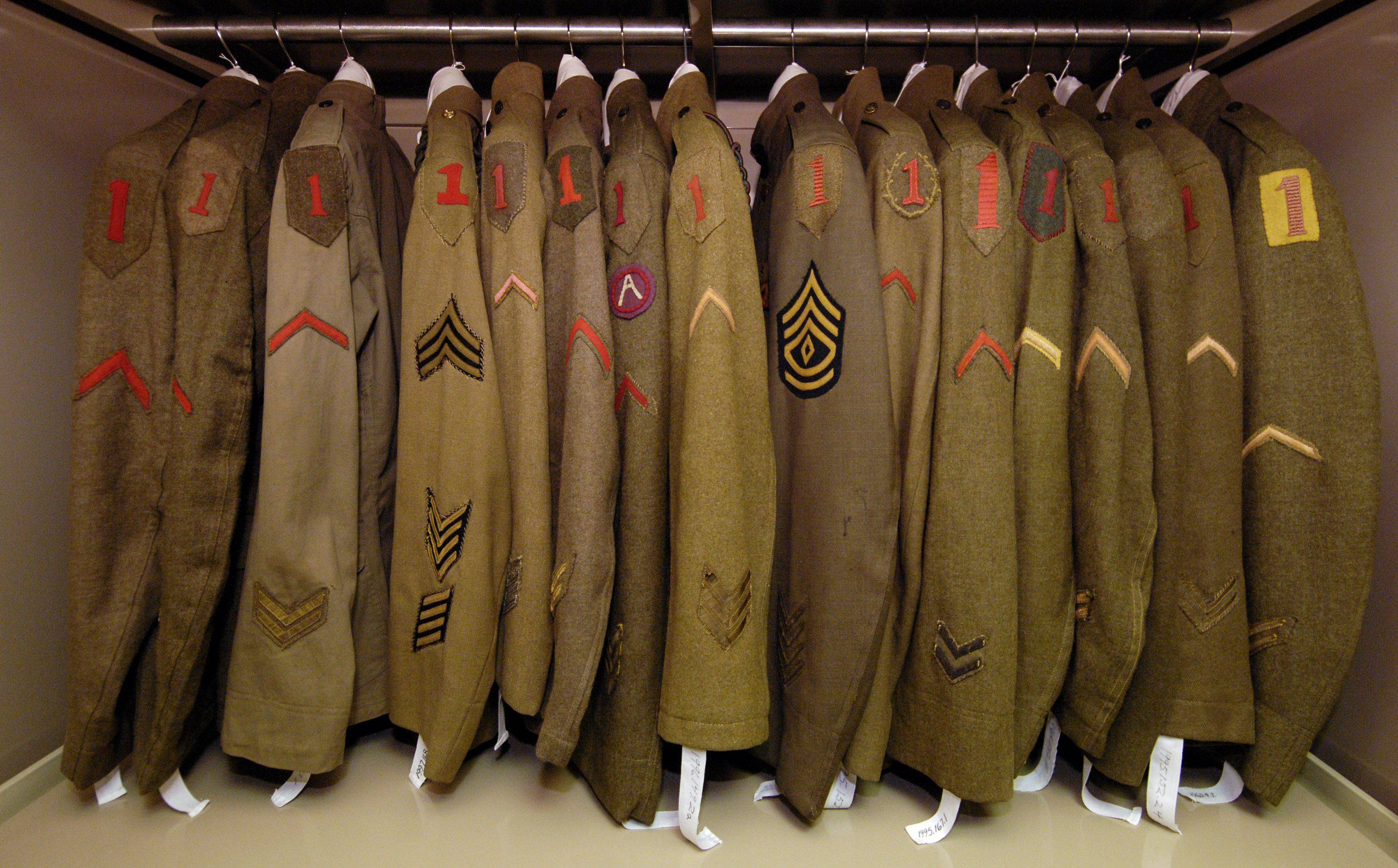The 1st Division Museum has items such as these 1st Division World War I service coats.