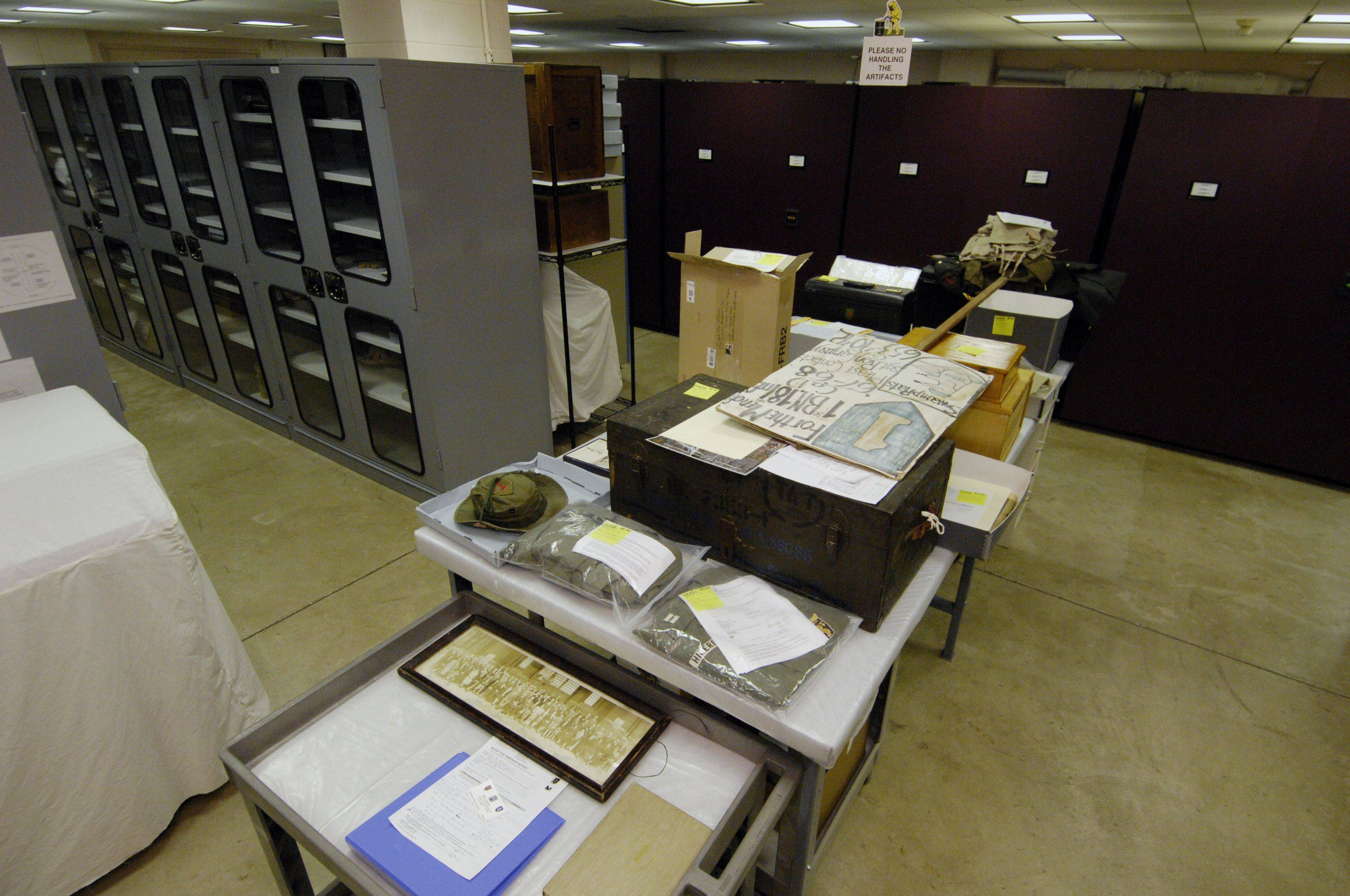 The collections area at 1st Division Museum, that is not open to the public, is filled with cabinet after cabinet holding historical items related to the 1st Division and the U.S. military.