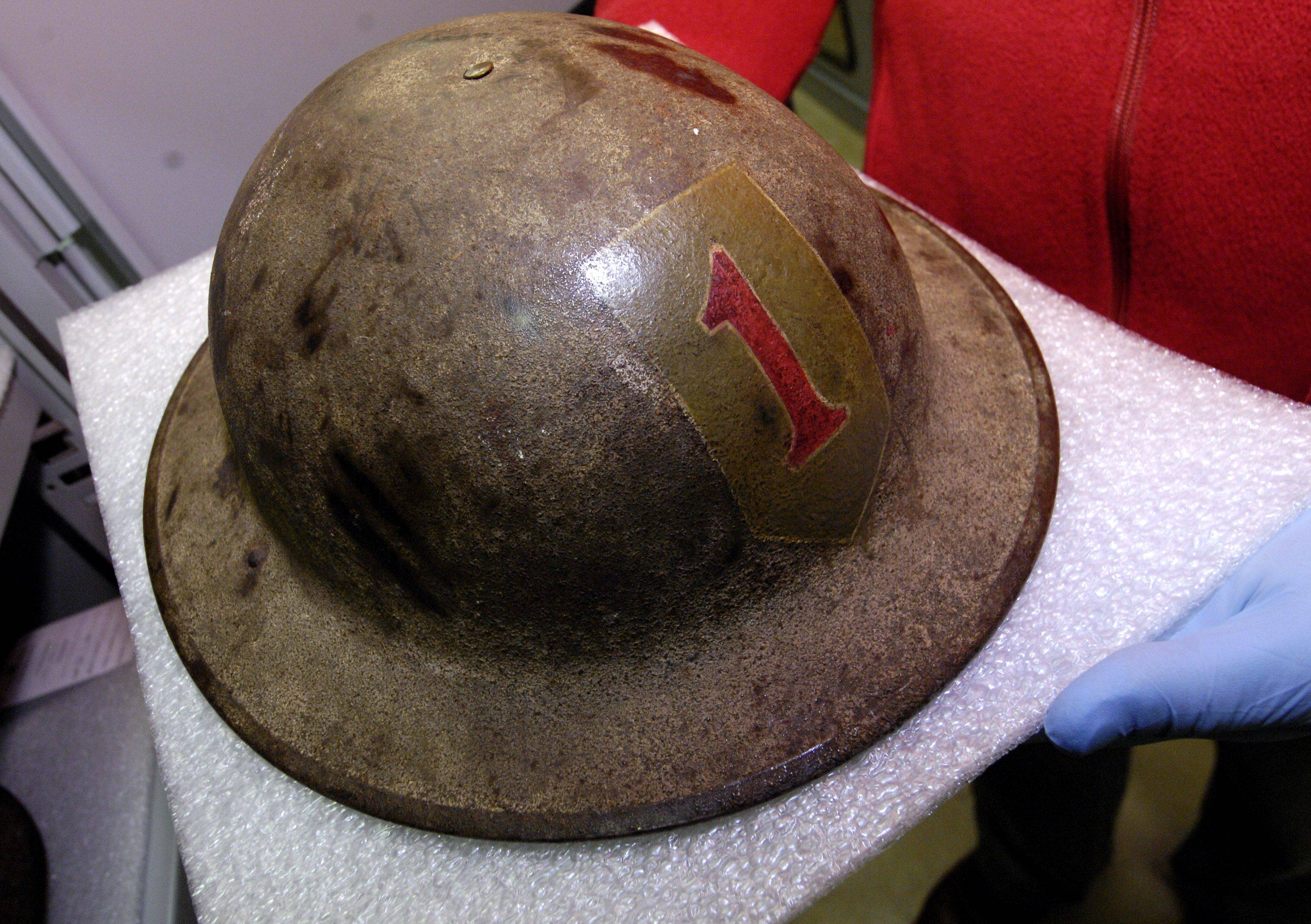 "The 1st Division Museum has a large collection of 1st Division helmets such as this World War I helmet sporting the ""Big Red One""."