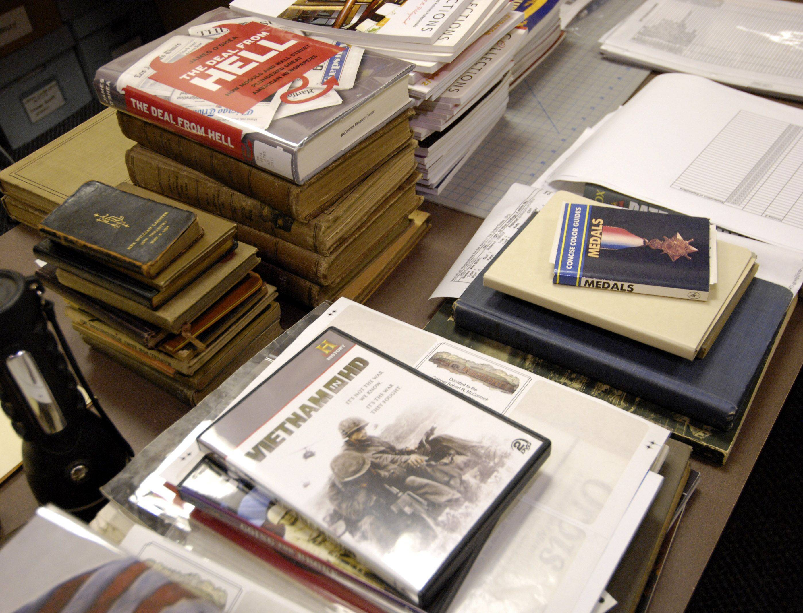 Donated books are ready to be cataloged at the Colonel Robert R. McCormick Research Center.