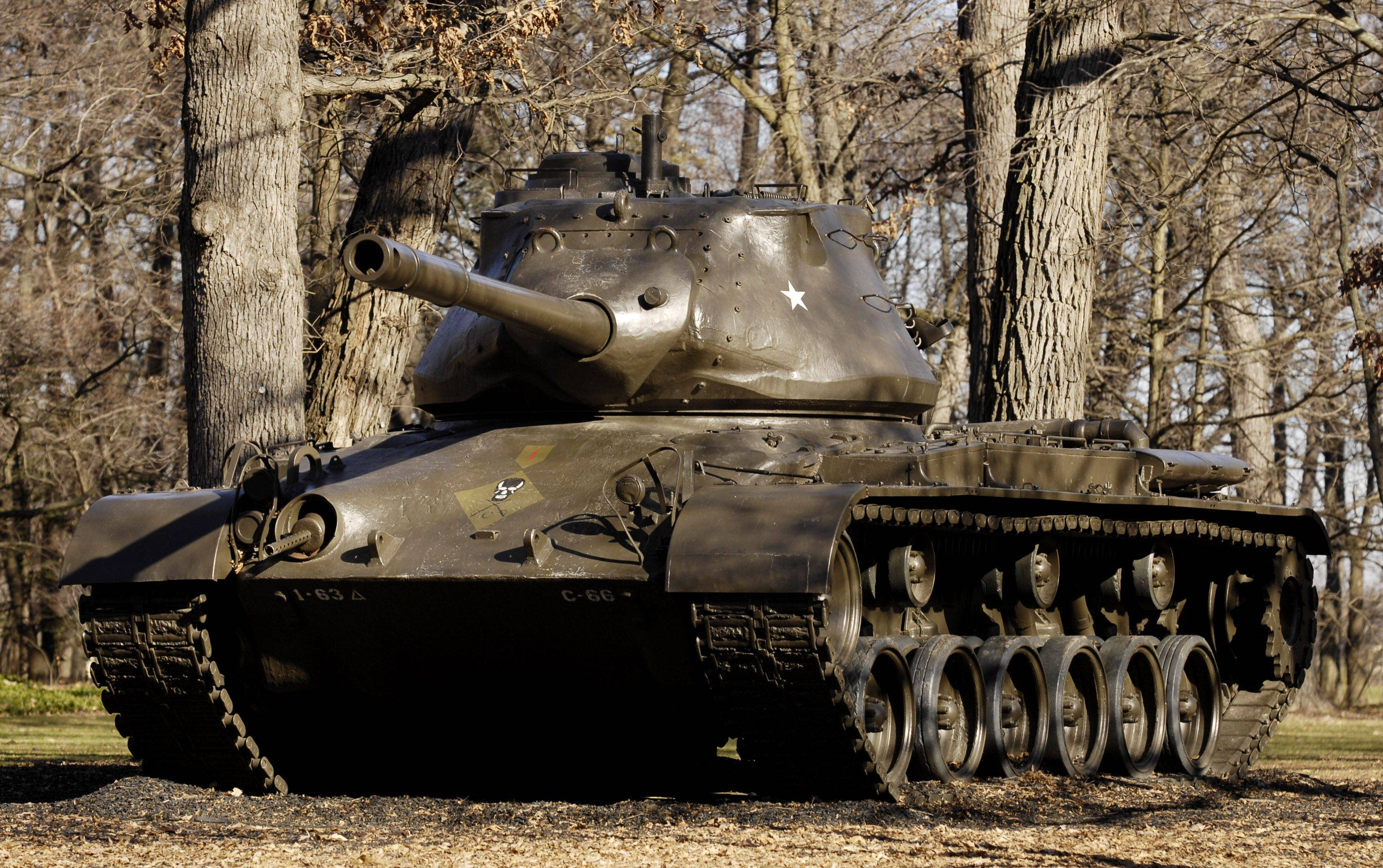 A cold war-era M47 Patton tank on display outside the 1st Division Museum at Cantigny Park in Wheaton.