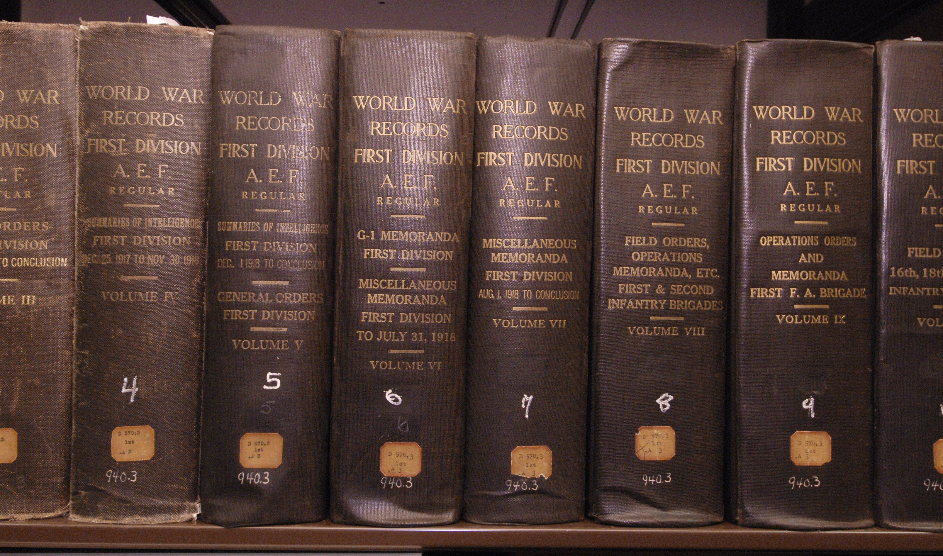 Some of the volumes of the official record of the 1st Divisions actions during World War I. The record consists of 29 volumes that were typed up following the end of the war.