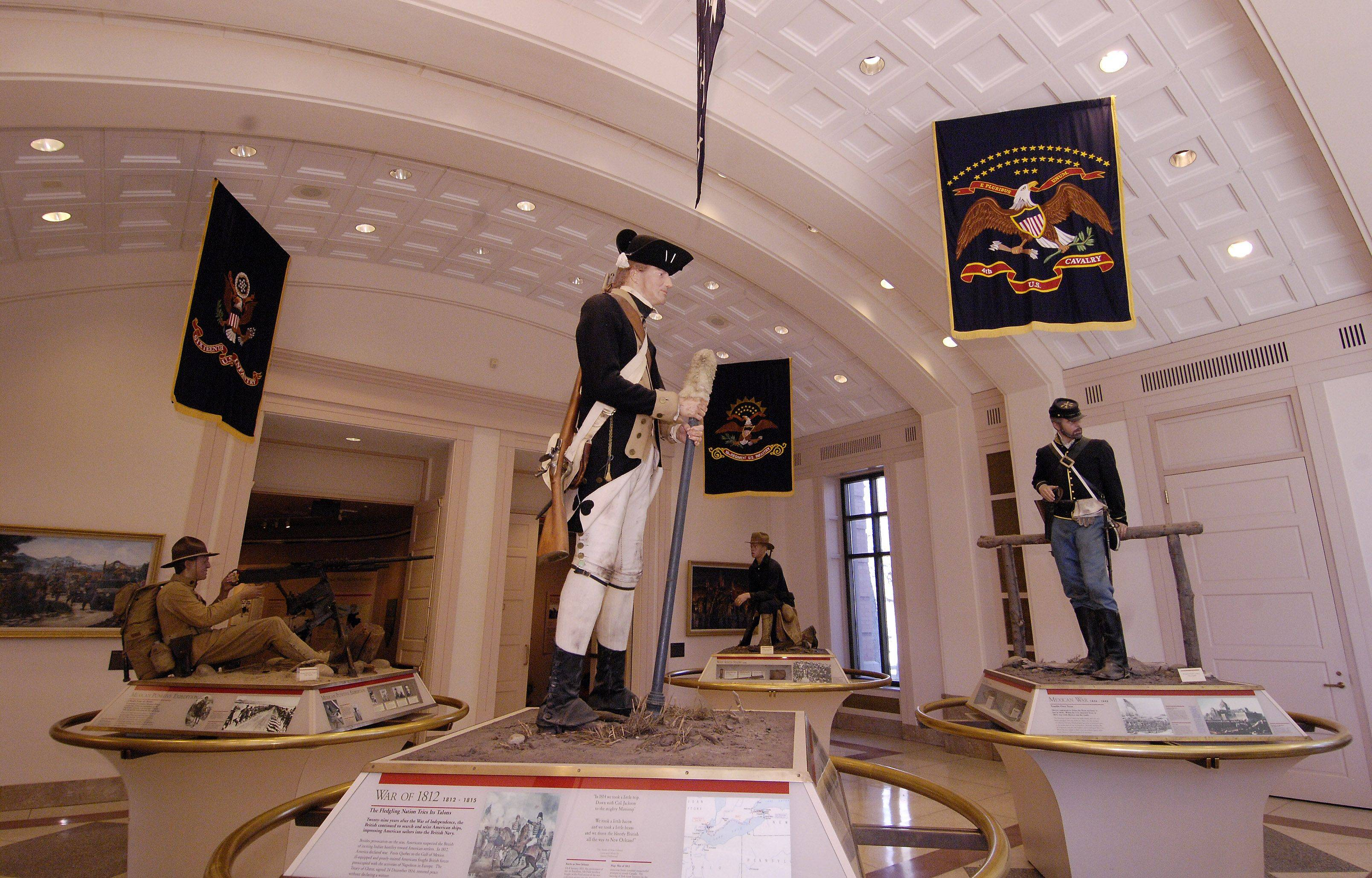 Displays of the predecessors to the 1st Division dating back to the revolutionary war, at the 1st Division Museum at Cantigny Park in Wheaton.