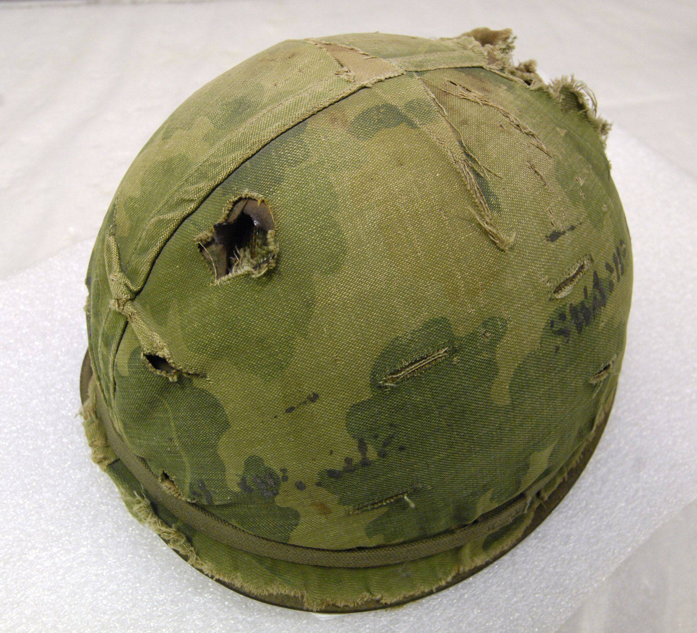 The 1st Division Museum has such items as this helmet with a bullet hole through the top that was worn and donated to the museum by Ronald Campsey, 1st Battalion, 19th Infantry Regiment, 1st Division, Vietnam 1968. Campsey was uninjured by the gun shot and did not know his helmet was shot until he returned to base.