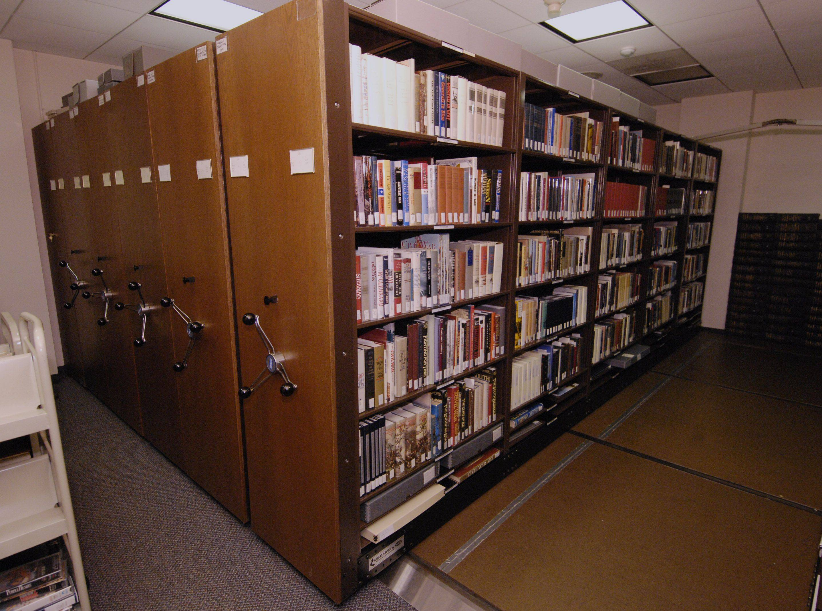 These movable book shelves house military books of all kinds and are made available electronically to libraries around the country. The Colonel Robert R. McCormick Research Center is located in the 1st Division Museum at Cantigny Park in Wheaton.