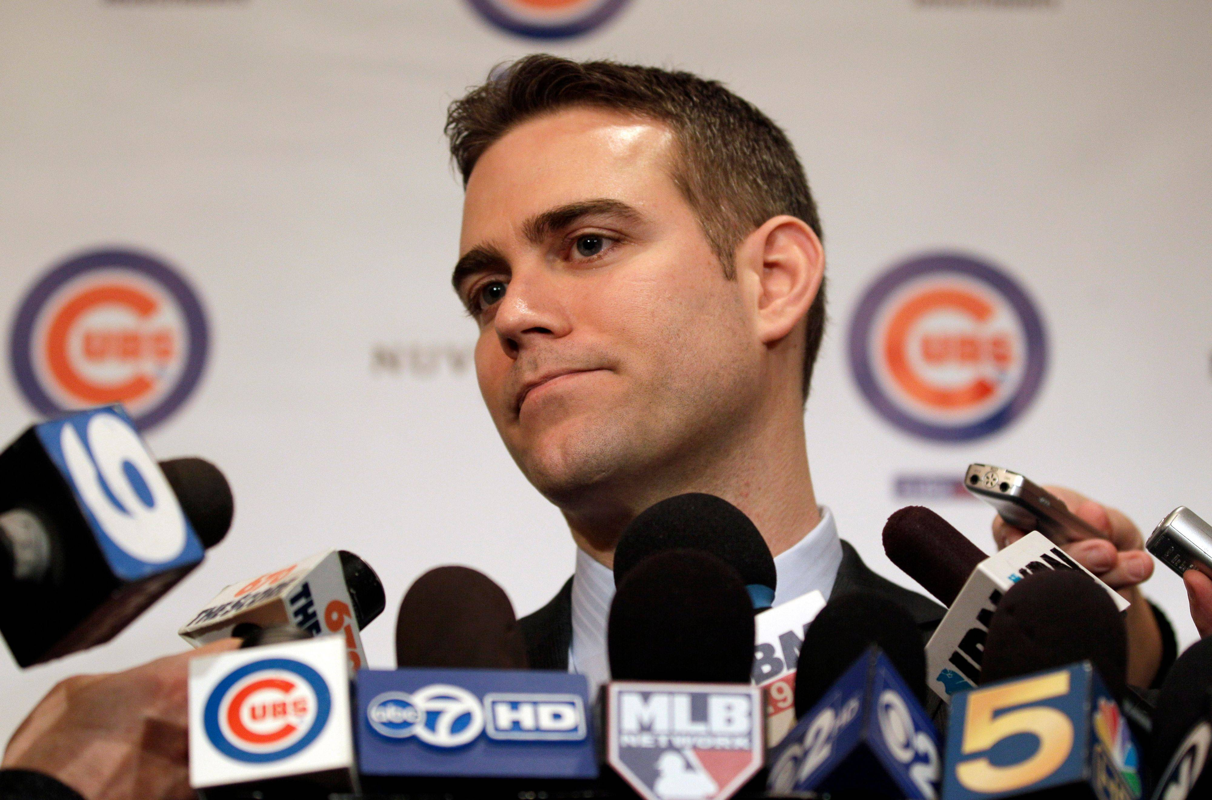 Theo Epstein speaks to reporters during the 27th annual Cubs baseball convention in Chicago on Friday, Jan. 13, 2012.