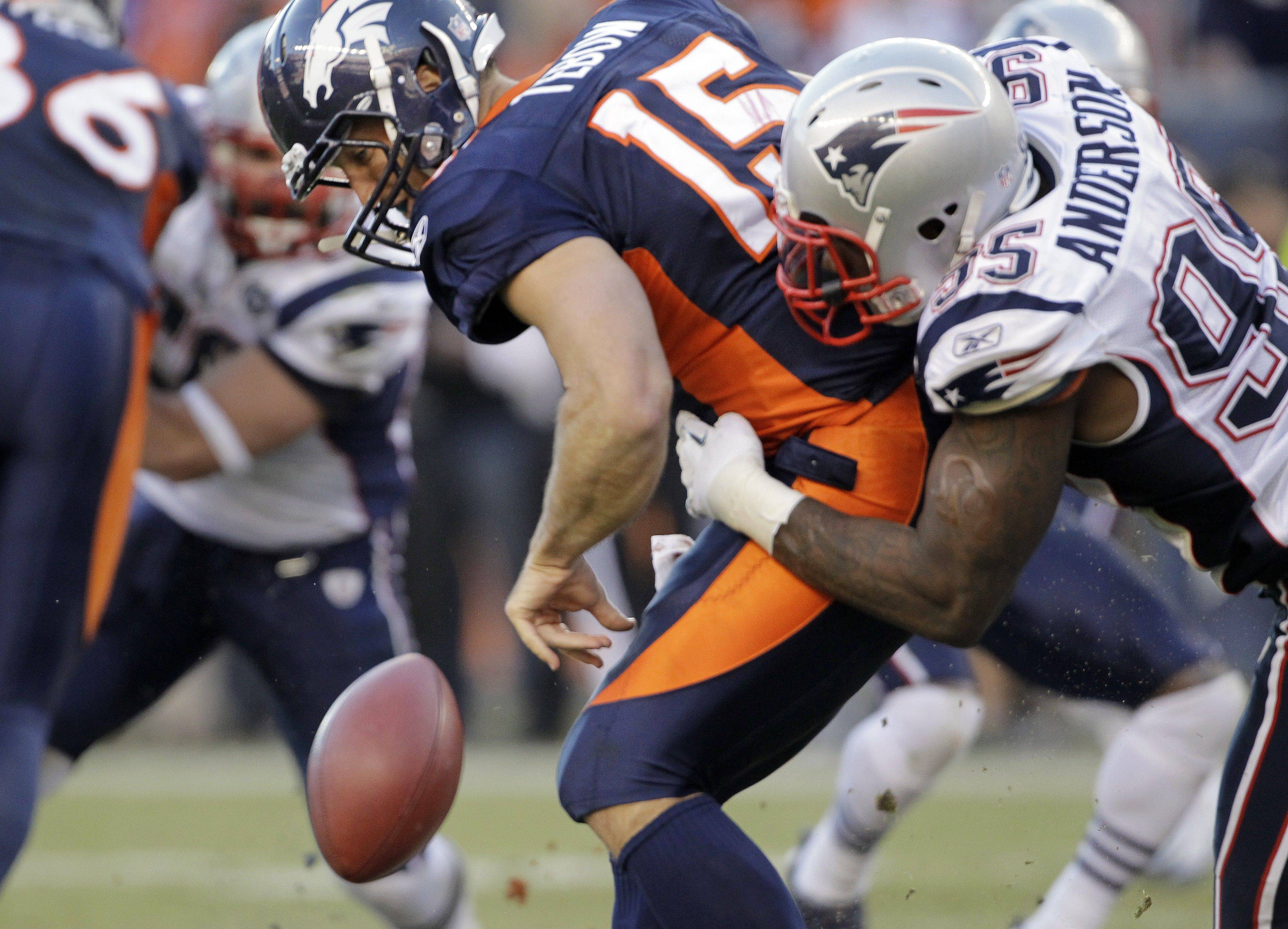 When Denver and New England played last month, former Chicago Bears defensive end Mark Anderson (95) forced a fumble by Tim Tebow. Anderson had 10 sacks this season.