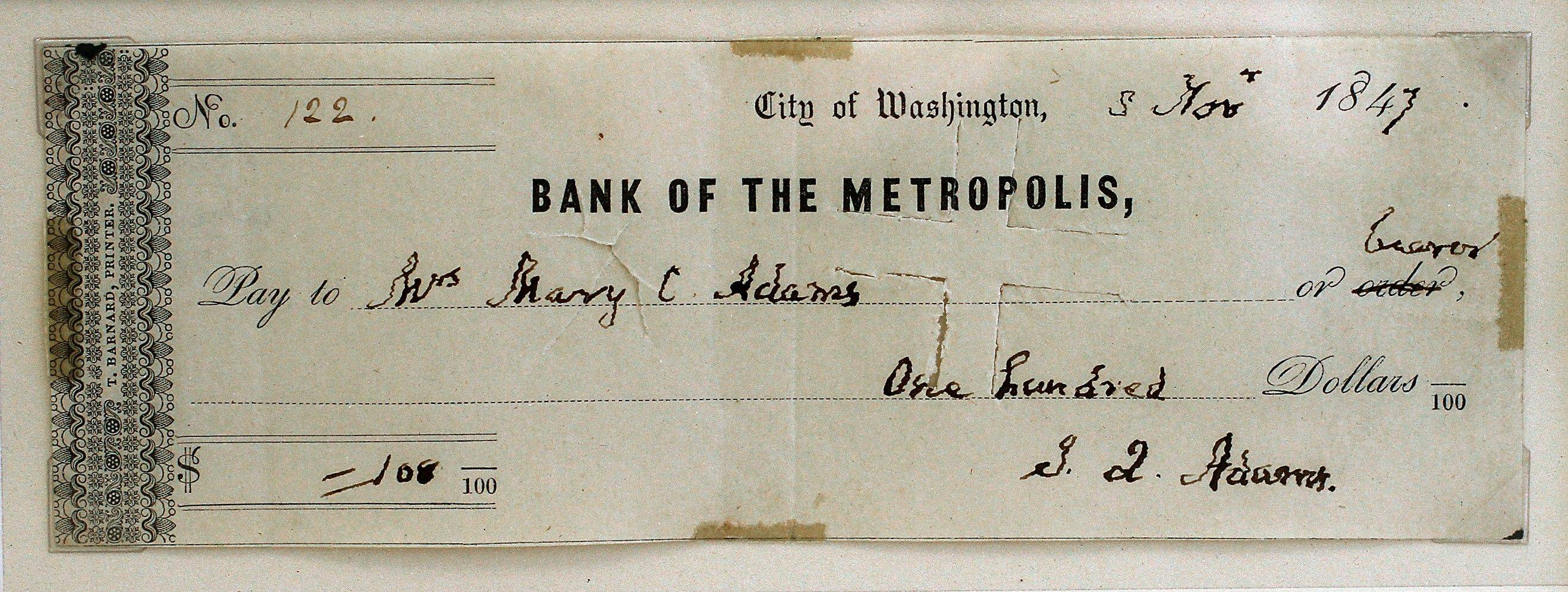 A check signed by John Quincy Adams, president of the United States from 1825-1929, is displayed at the Huntington Bank in Brooklyn, Ohio.