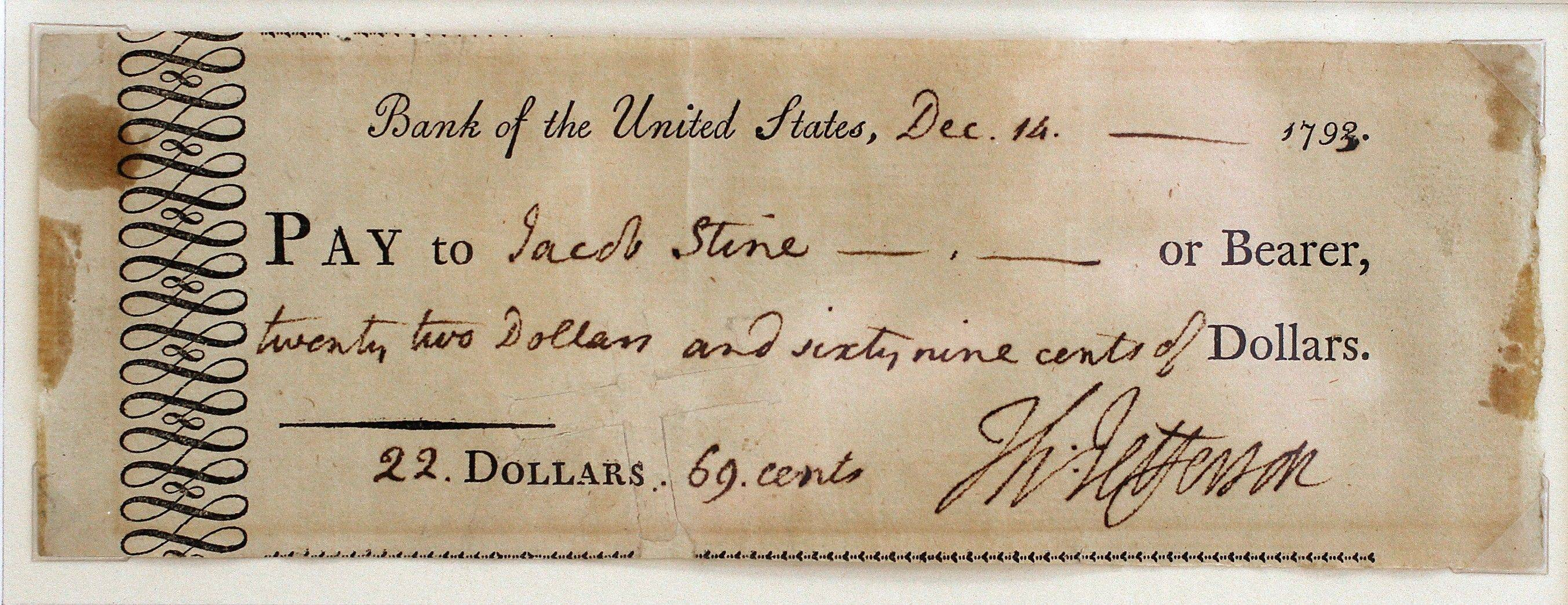 Acheck signed by President Thomas Jefferson, s displayed at the Huntington Bank in Brooklyn,