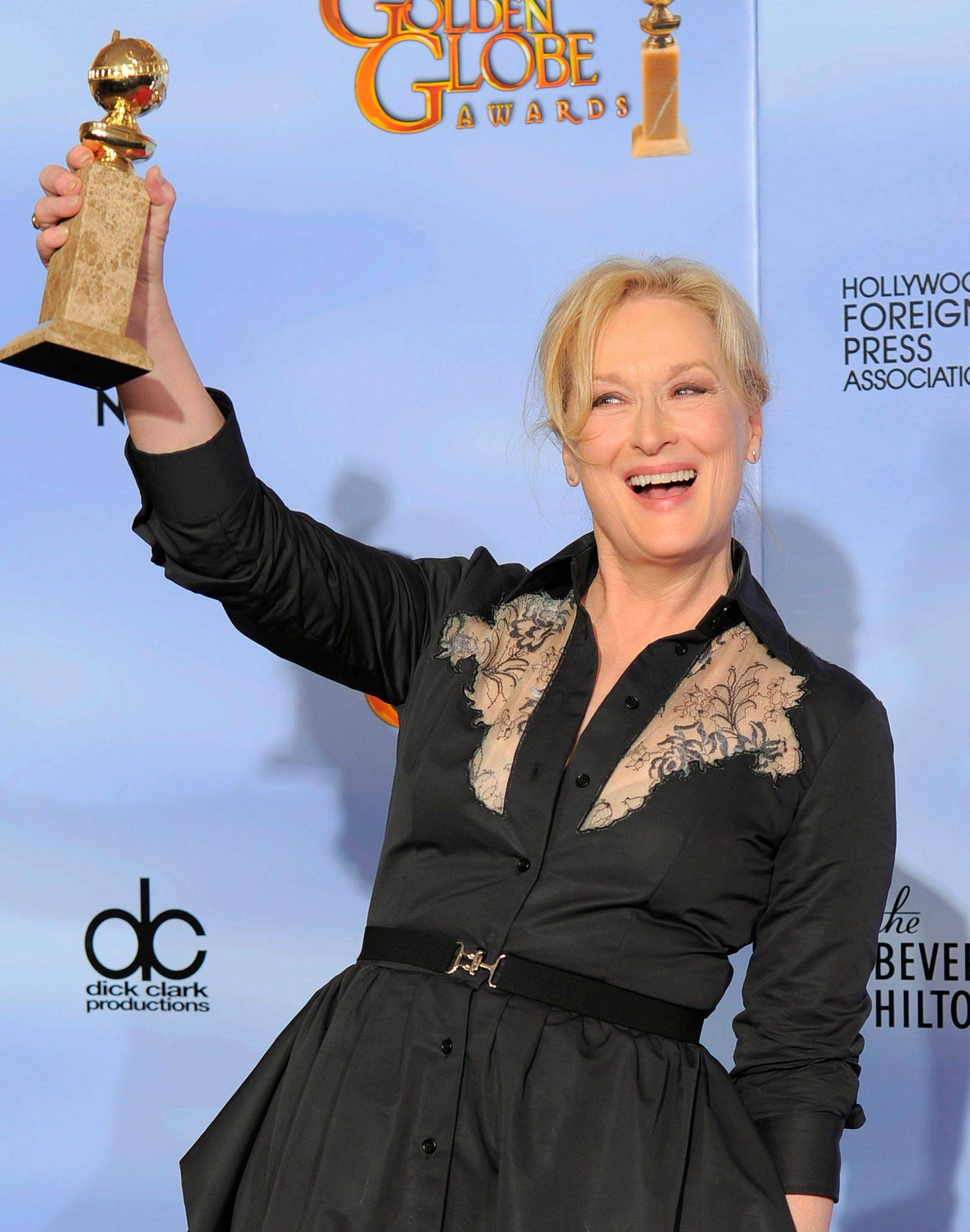 "Actress Meryl Streep poses backstage with the award for Best Actress in a Motion Picture Drama for ""The Iron Lady"" during the 69th Annual Golden Globe Awards Sunday, Jan. 15, 2012, in Los Angeles."