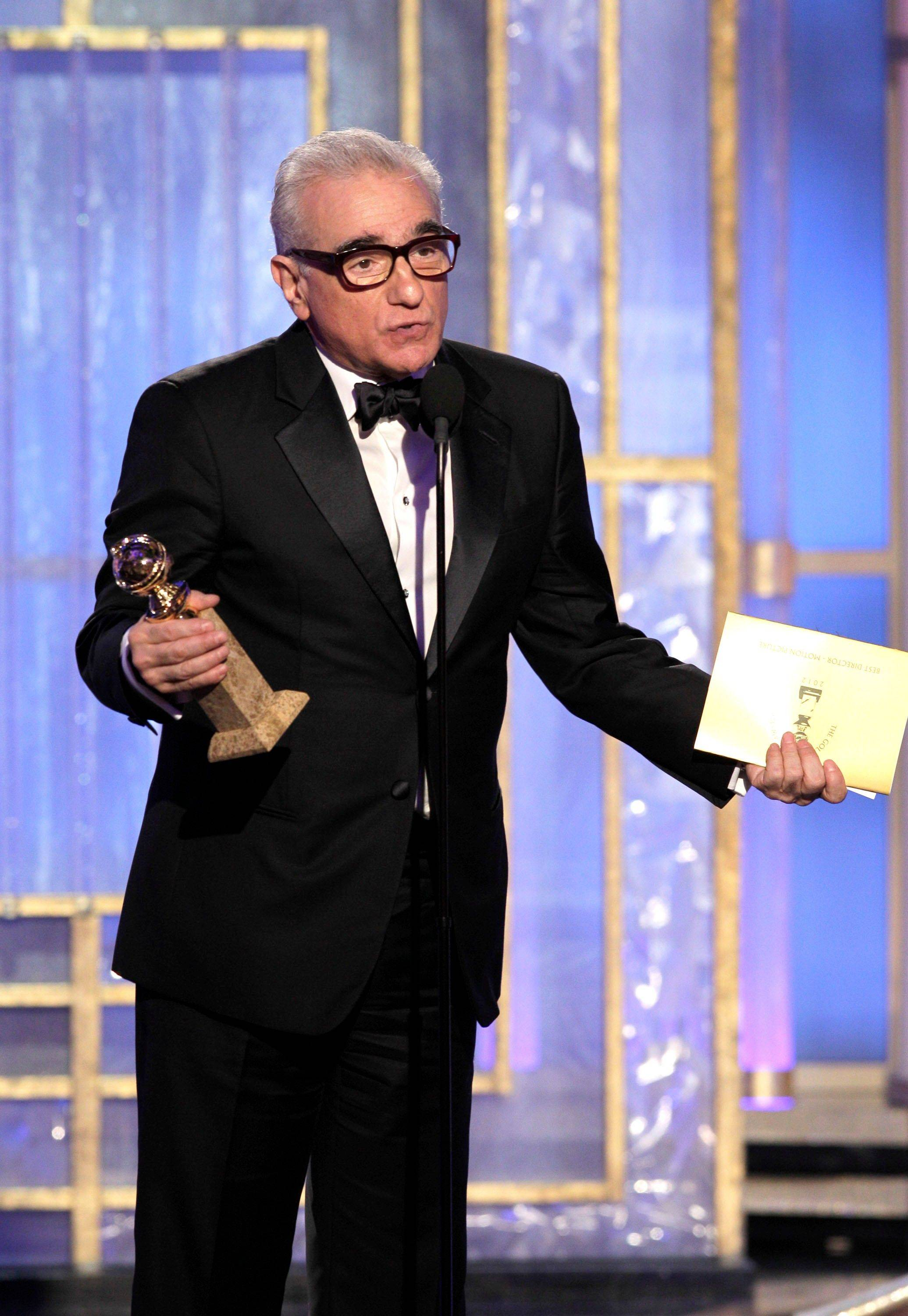 In this image released by NBC, Martin Scorcese accepts the award for Best Director of a Motion Picture during the 69th Annual Golden Globe Awards on Sunday, Jan. 15, 2012 in Los Angeles.