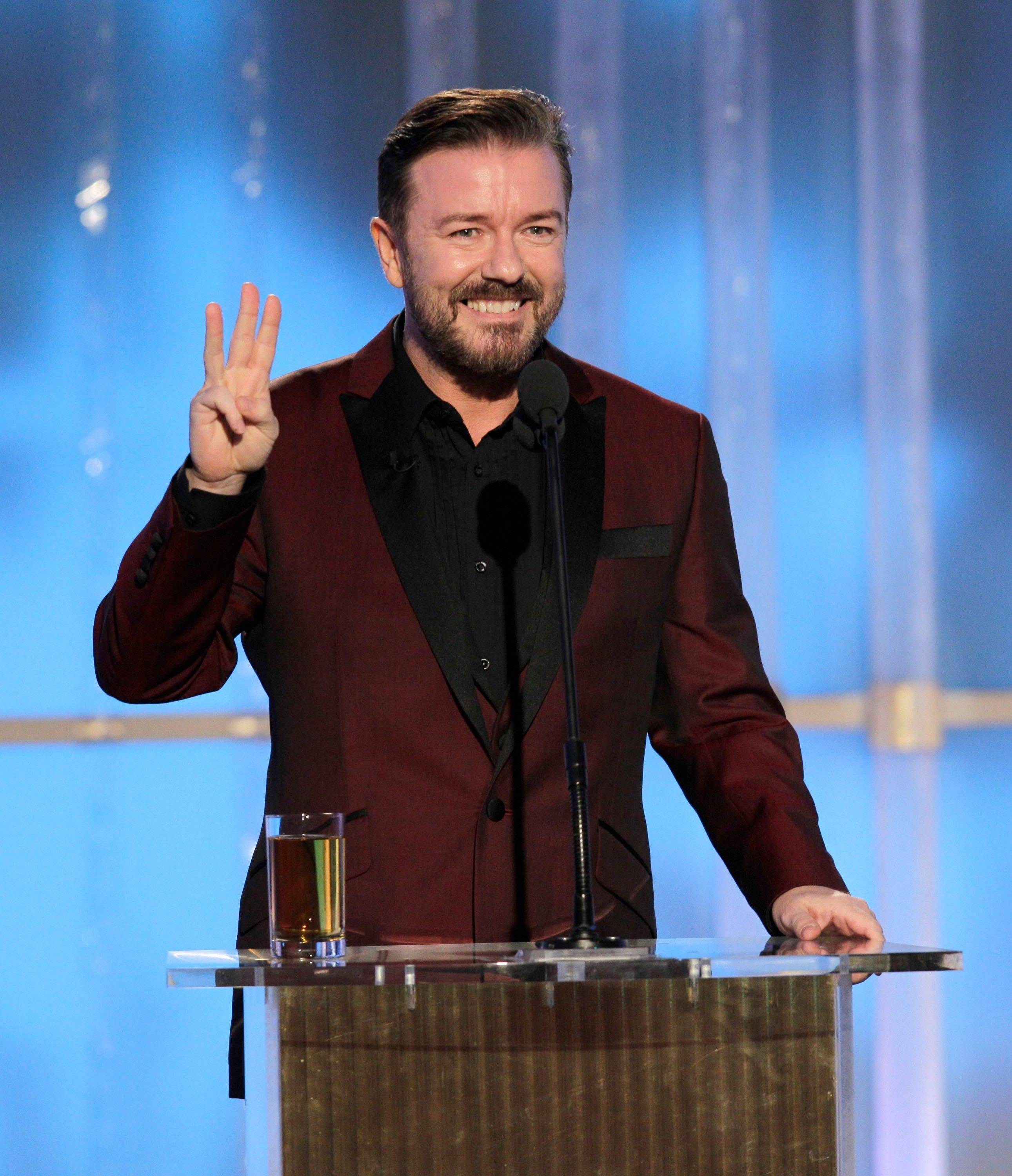 In this image released by NBC, host Ricky Gervais speaks during the 69th Annual Golden Globe Awards.