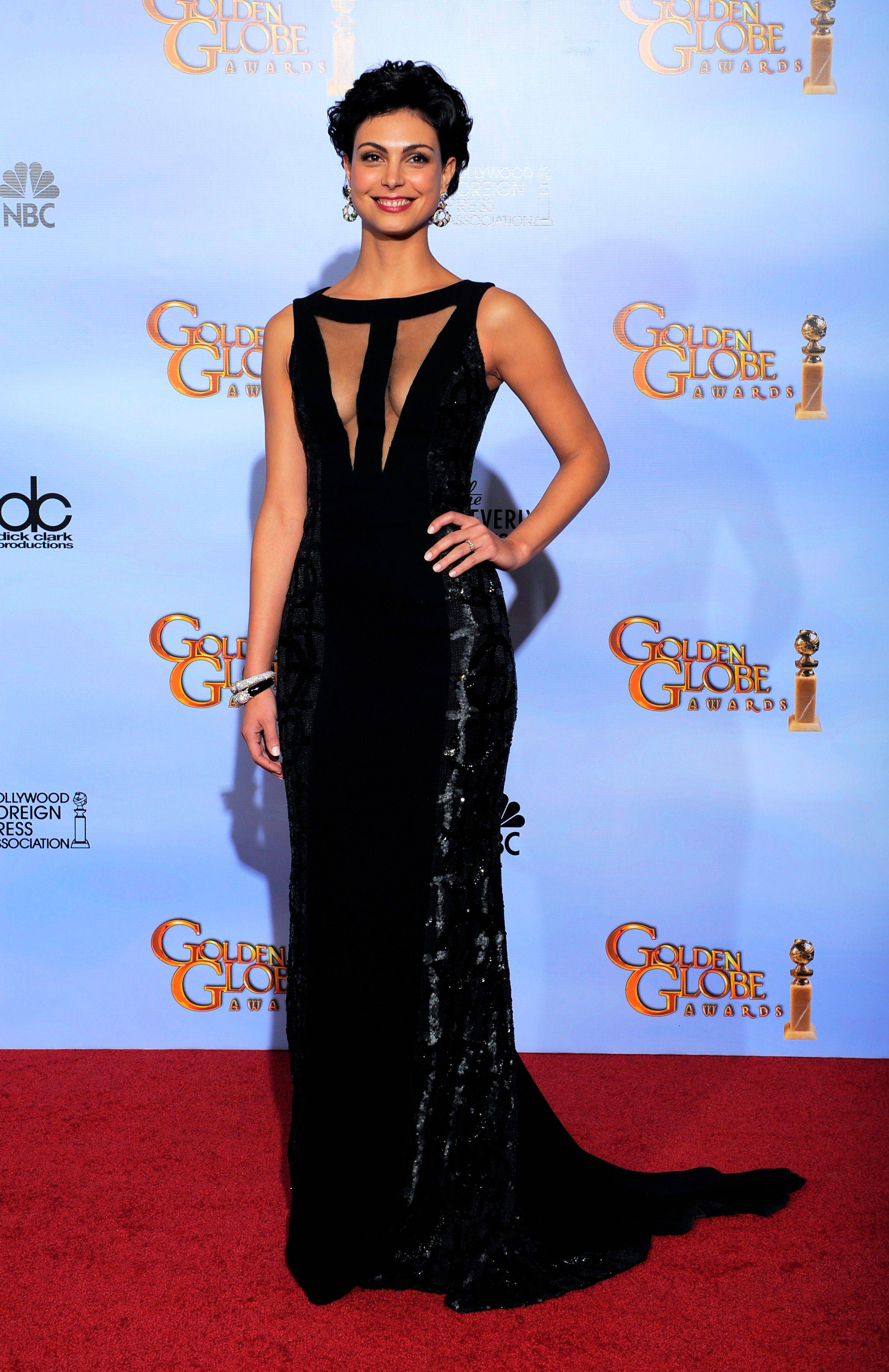 Actress Morena Baccarin poses backstage during the 69th Annual Golden Globe Awards.