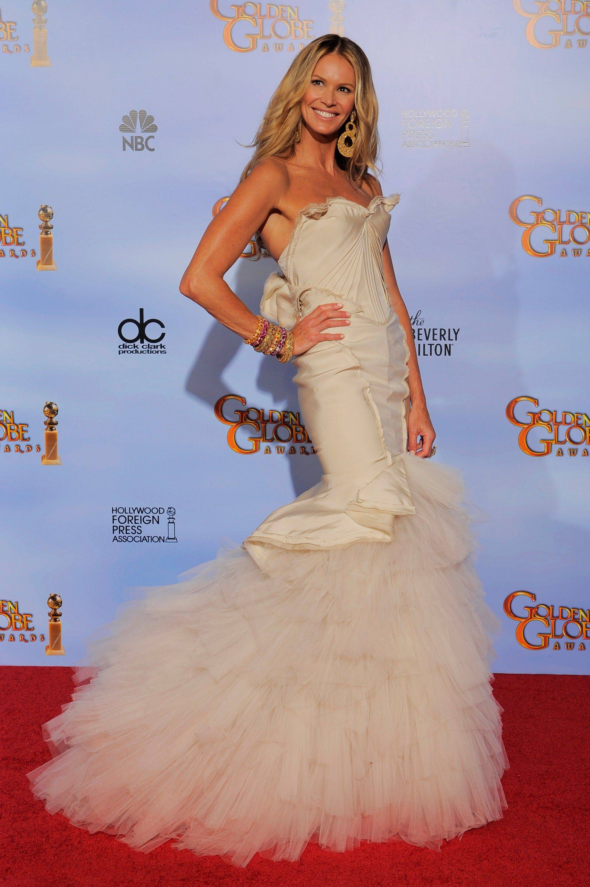 Elle Macpherson poses backstage during the 69th Annual Golden Globe Awards.