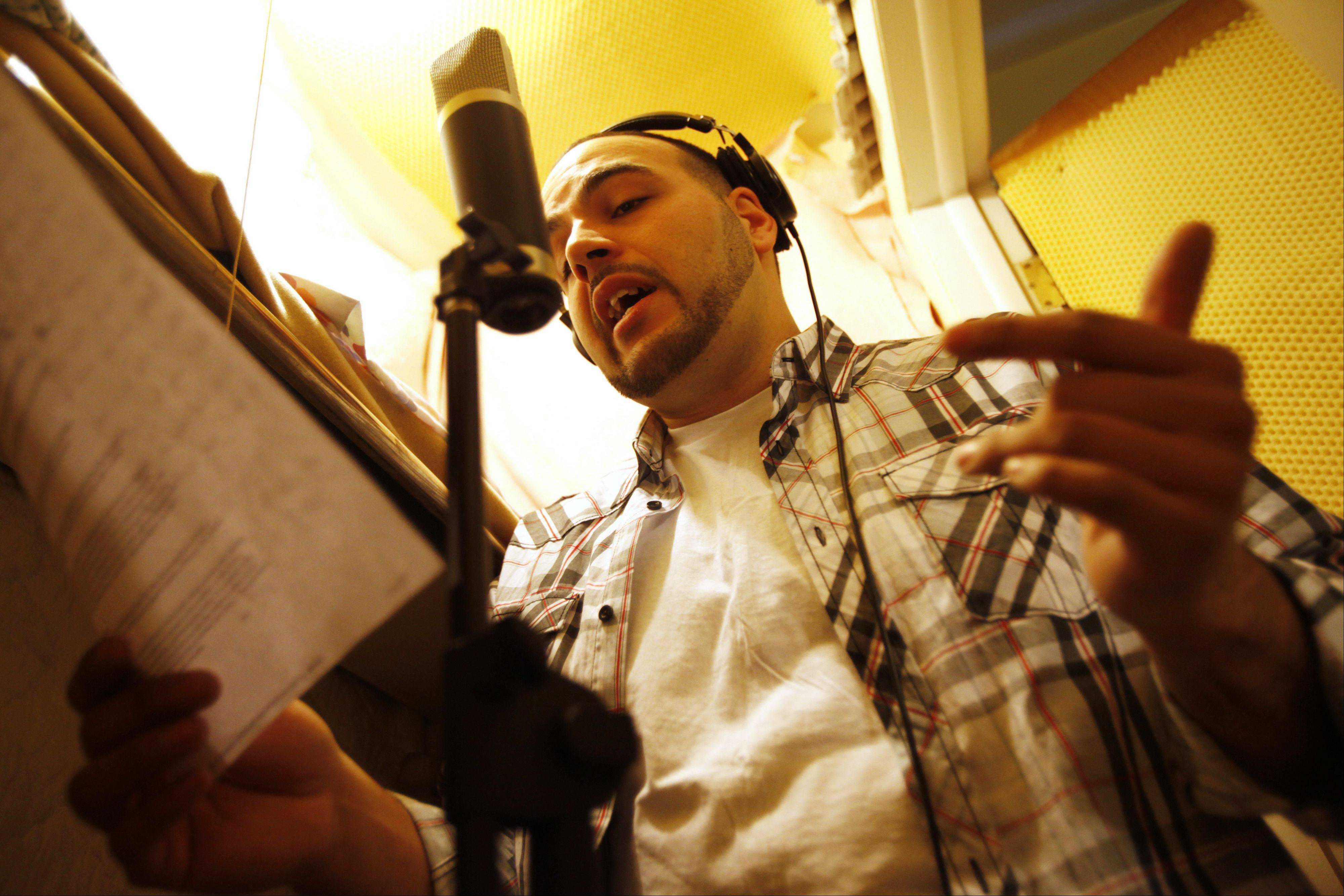 In a tiny closet lined with foam rubber strips and towels, Angel Chairez has recorded some of his songs at the East Dundee home of his producer Donovan James.
