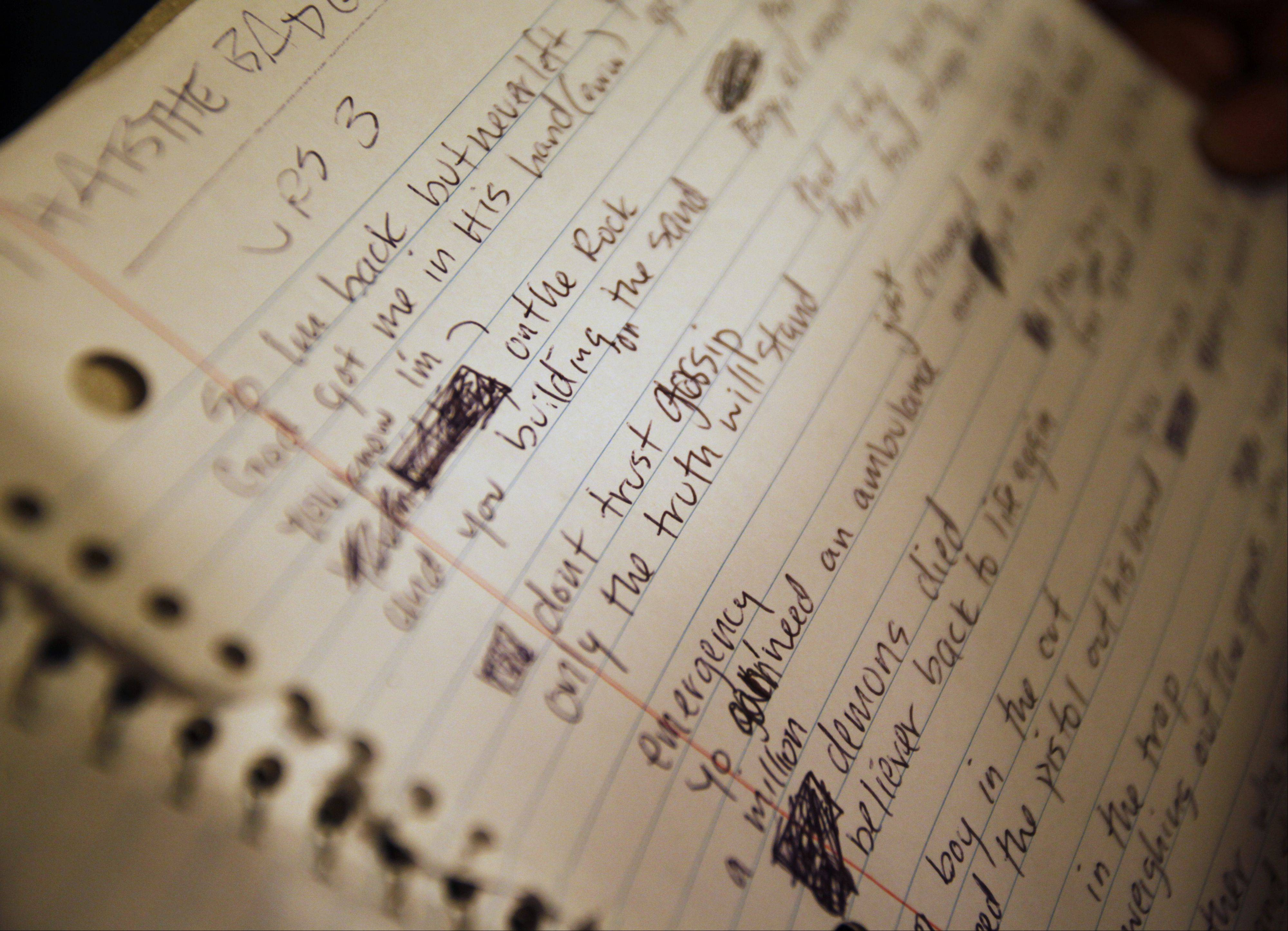 One of Chairez' notebooks is filled with lyrics to a song he wrote.