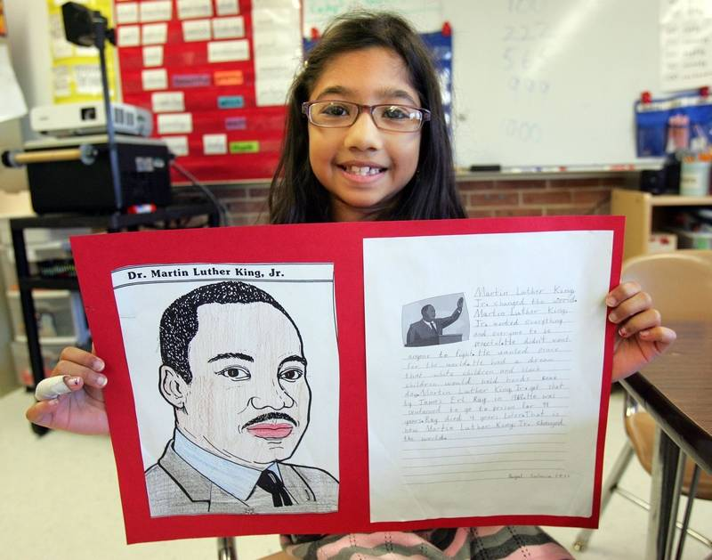 Essay On Importance Of English Language Payal Sutaria  Of Gurnee Shows Off Her Project On Martin Luther King Jr Example Of Proposal Essay also Essay On Science And Society Images Suburban Students Remember Martin Luther King Jr Harvard Business School Essay