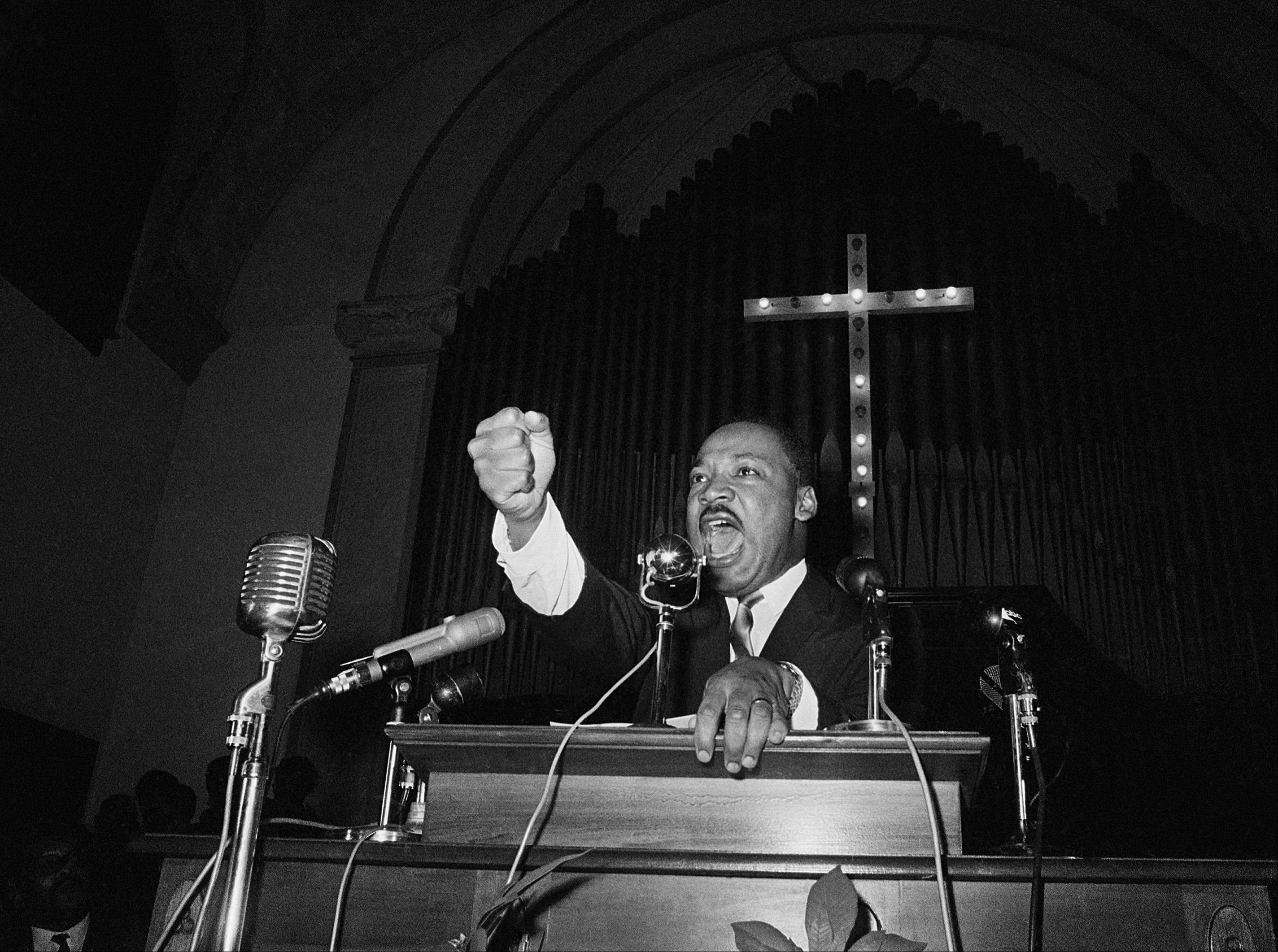 Dr. Martin Luther King, Jr., co-pastor with his father of Ebenezer Baptist Church in Atlanta, Ga., is shown as he speaks in Eutaw, Ala., June 4, 1965.