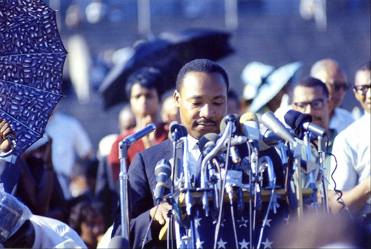 Martin Luther King, Jr., speaks at Soldier Field in Chicago in this undated photo.