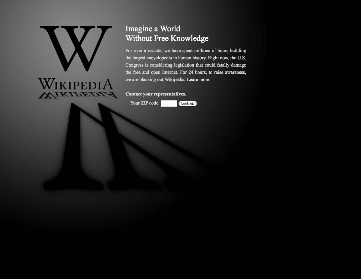 Wikipedia, Google protest U.S. antipiracy proposals