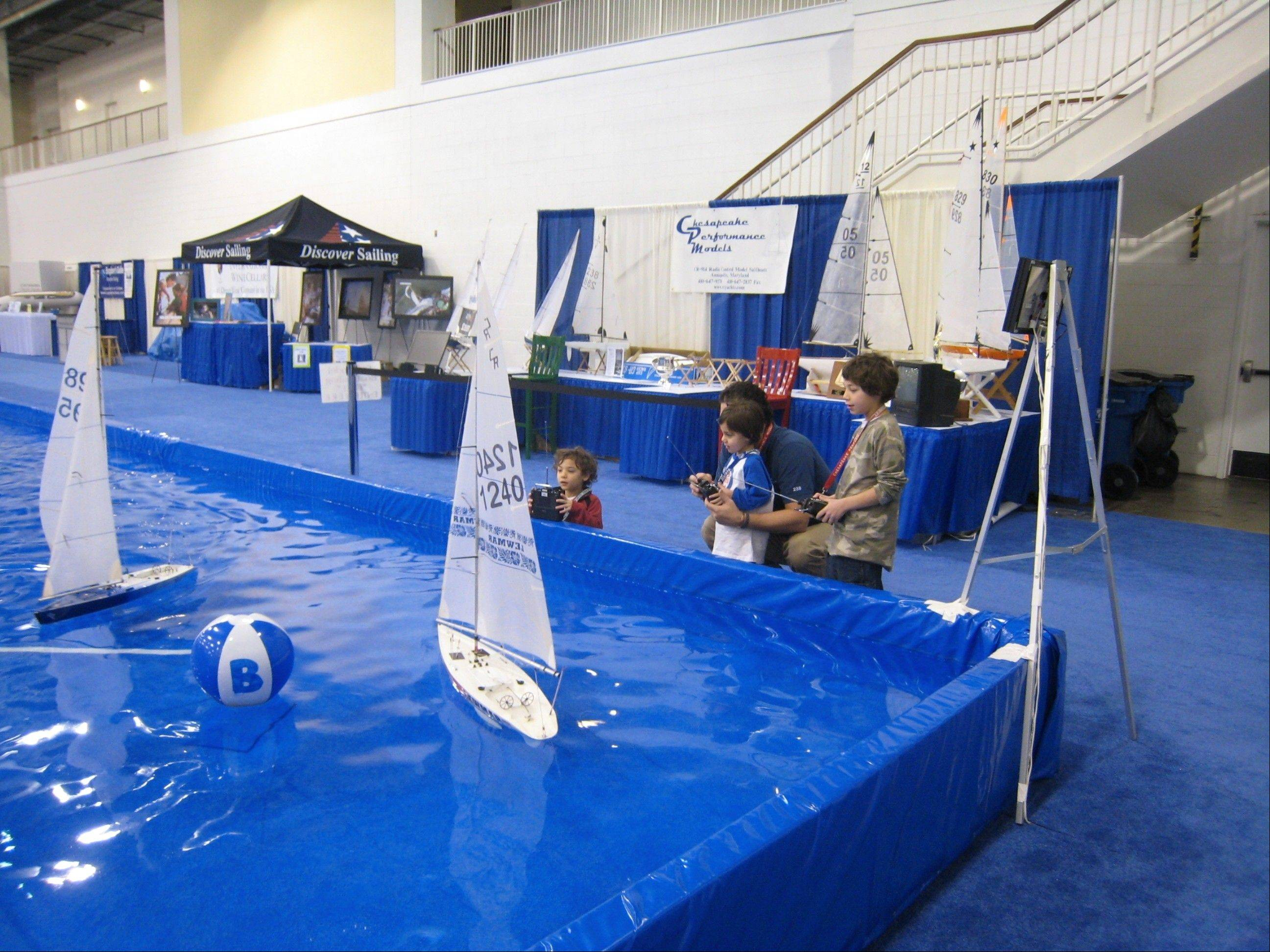 Strictly Sail Chicago 2012 at Navy Pier features demonstrations like remote-control sail boats.