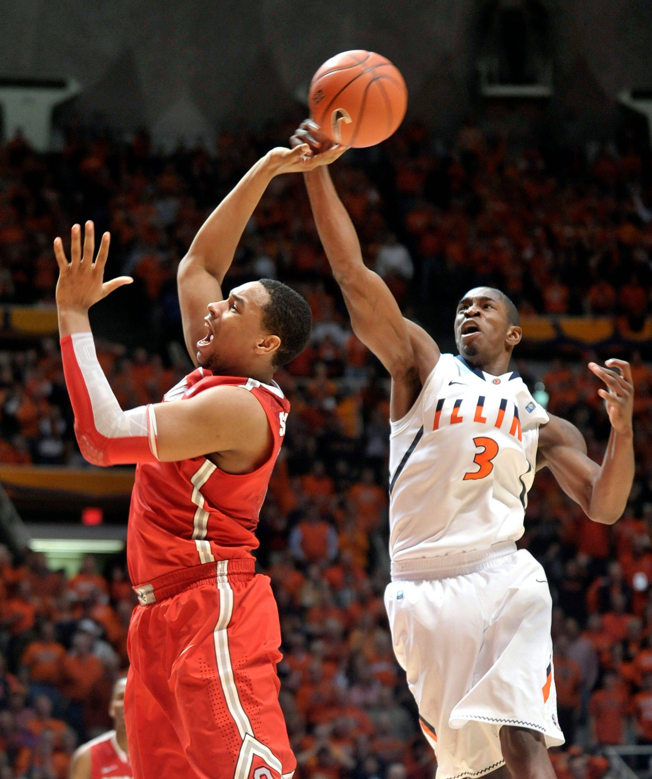 Illinois' Brandon Paul hits the ball out of the hands of Ohio State's Jared Sullinger earlier this season. Paul scored 43 points in the win.