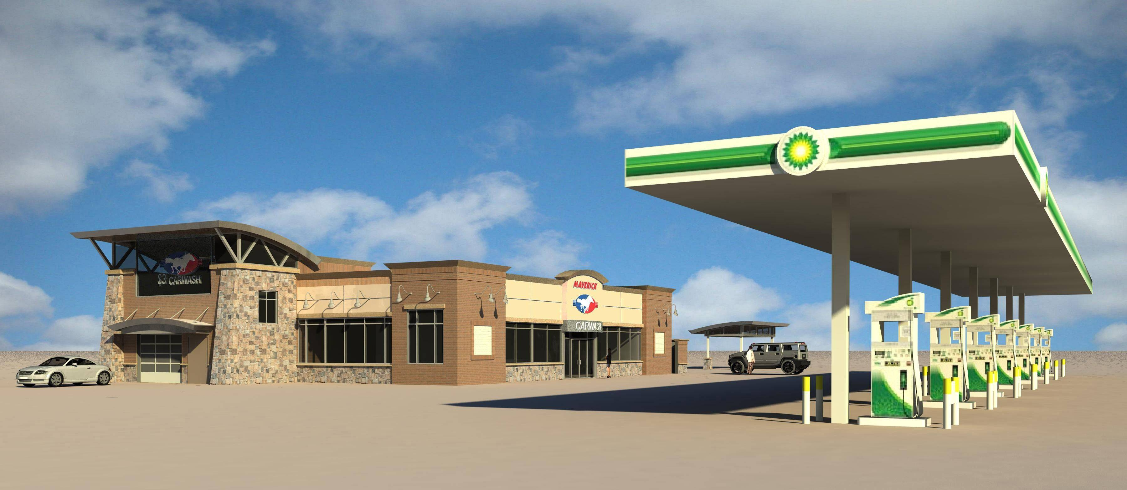 The Arlington Heights village board Tuesday approved this design of the new BP gas station, convenience store and Maverick Car Wash for the northwest corner of Arlington Heights and Algonquin roads.
