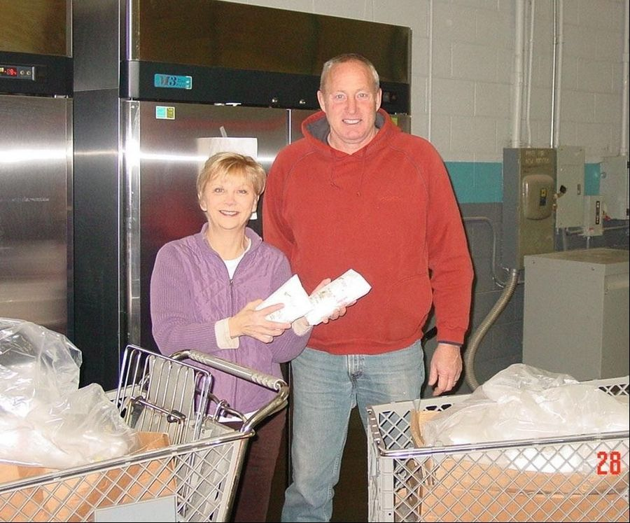 Mark Schramer, right, owner of Farm Direct Black Angus in Maple Park, brings his delivery of 240 pounds of locally raised organic beef to Sue Erikson of Feeding Greater Elgin. The Rotary Club of Elgin has supported Feeding Greater Elgin since the food pantry's inception in January 2011.