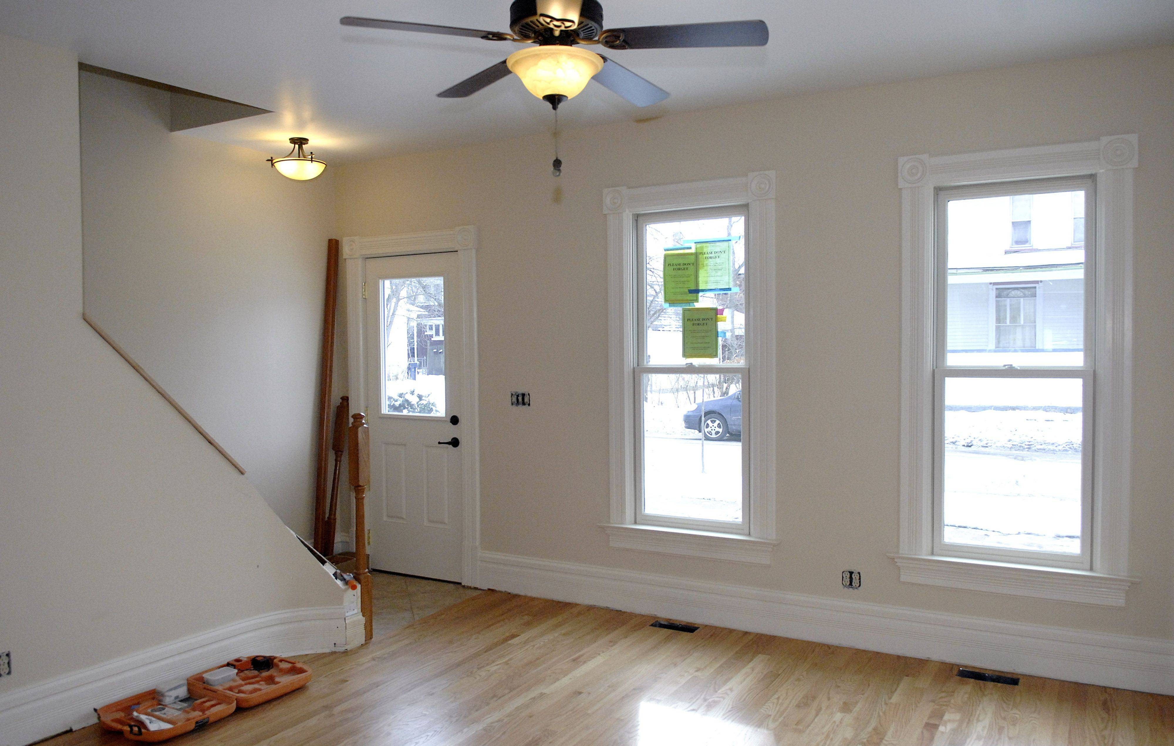 The living room in the house at 162 Summit St. in Elgin is shown here at the end of construction. This home was the first of Elgin's to sell in the Neighborhood Stabilization Program.