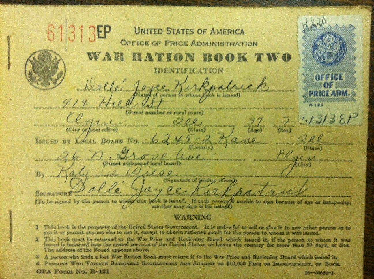 Citizens were issued ration books to purchase certain commodities that were limited during World War II.