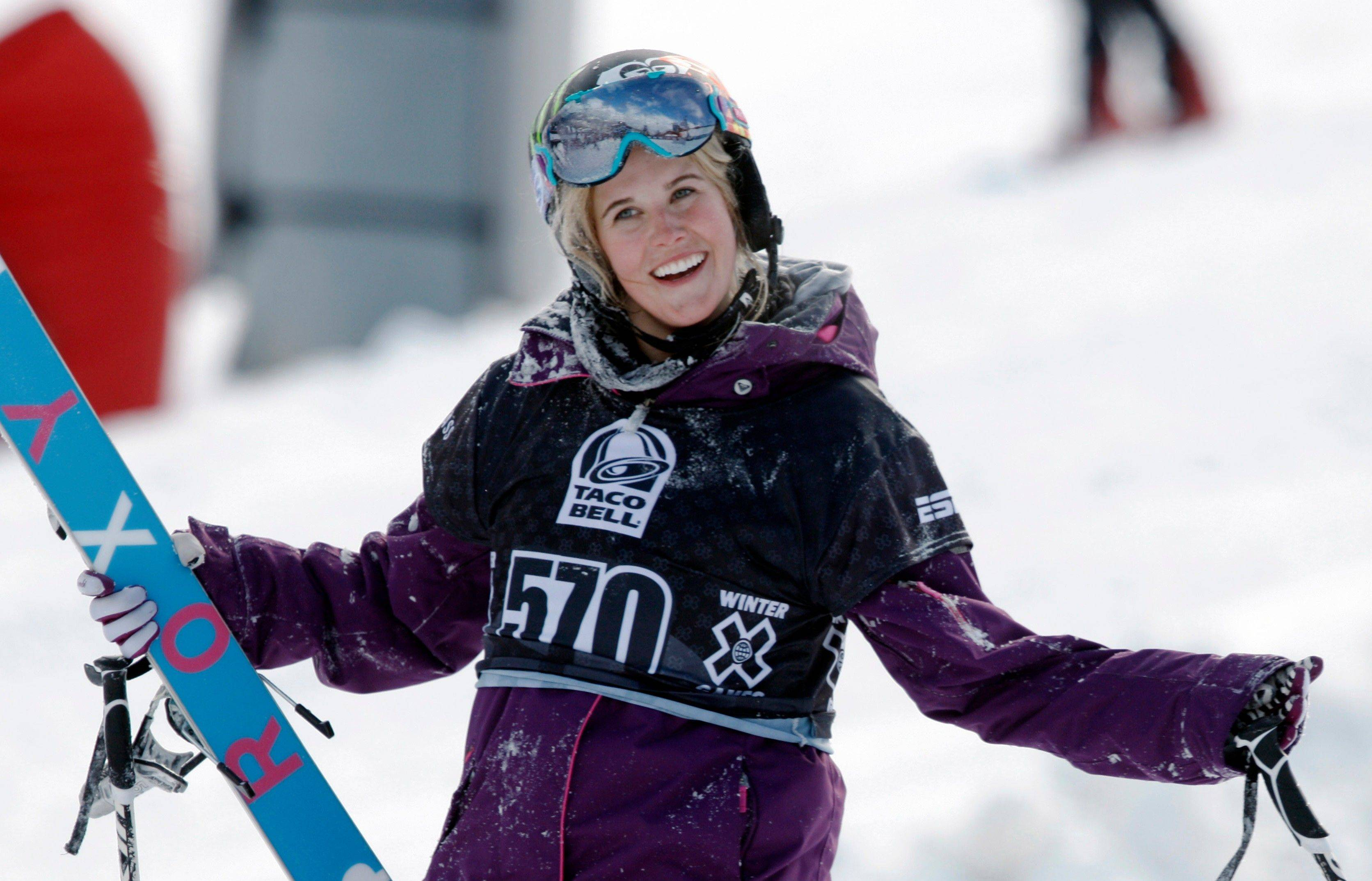 Sarah Burke reacts after failing to place in the top-three finishers in the slopestyle skiing women's final at the Winter X Games at Buttermilk Mountain outside Aspen, Colo. Burke died Thursday, nine days after crashing at the bottom of the superpipe during a training run in Utah. She was 29. Burke was injured Jan. 11 while training at a personal sponsor event at the Park City Mountain resort.