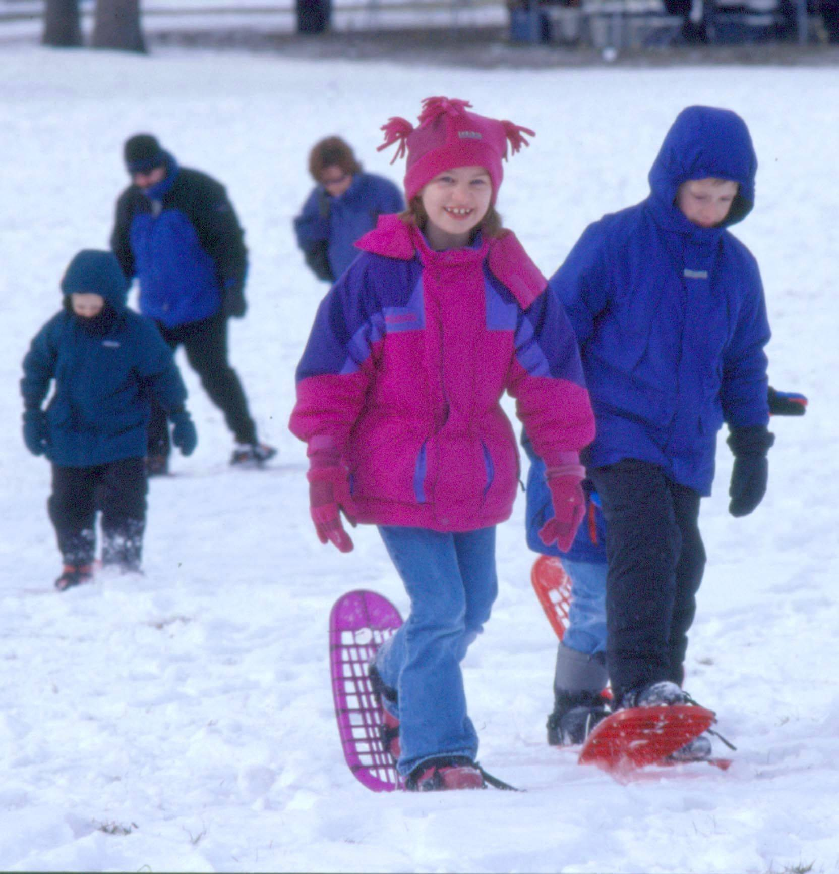 Families can rent snowshoes when there's 4 inches of snow or more at the Morton Arboretum in Lisle.