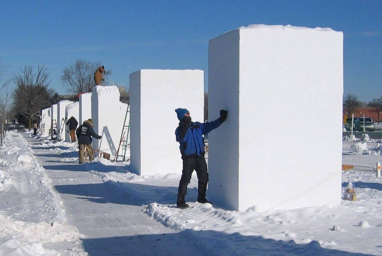Massive snow blocks are readied for the snow sculpting competition in Snow Days Chicago. The festival is now in its second year at Navy Pier in Chicago.