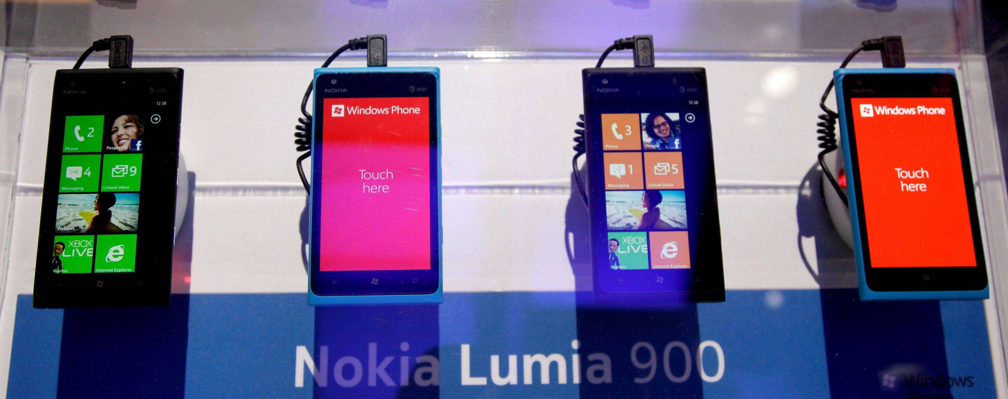 The Nokia Lumia 900 Windows based smartphones at the 2012 International CES trade show, in Las Vegas.