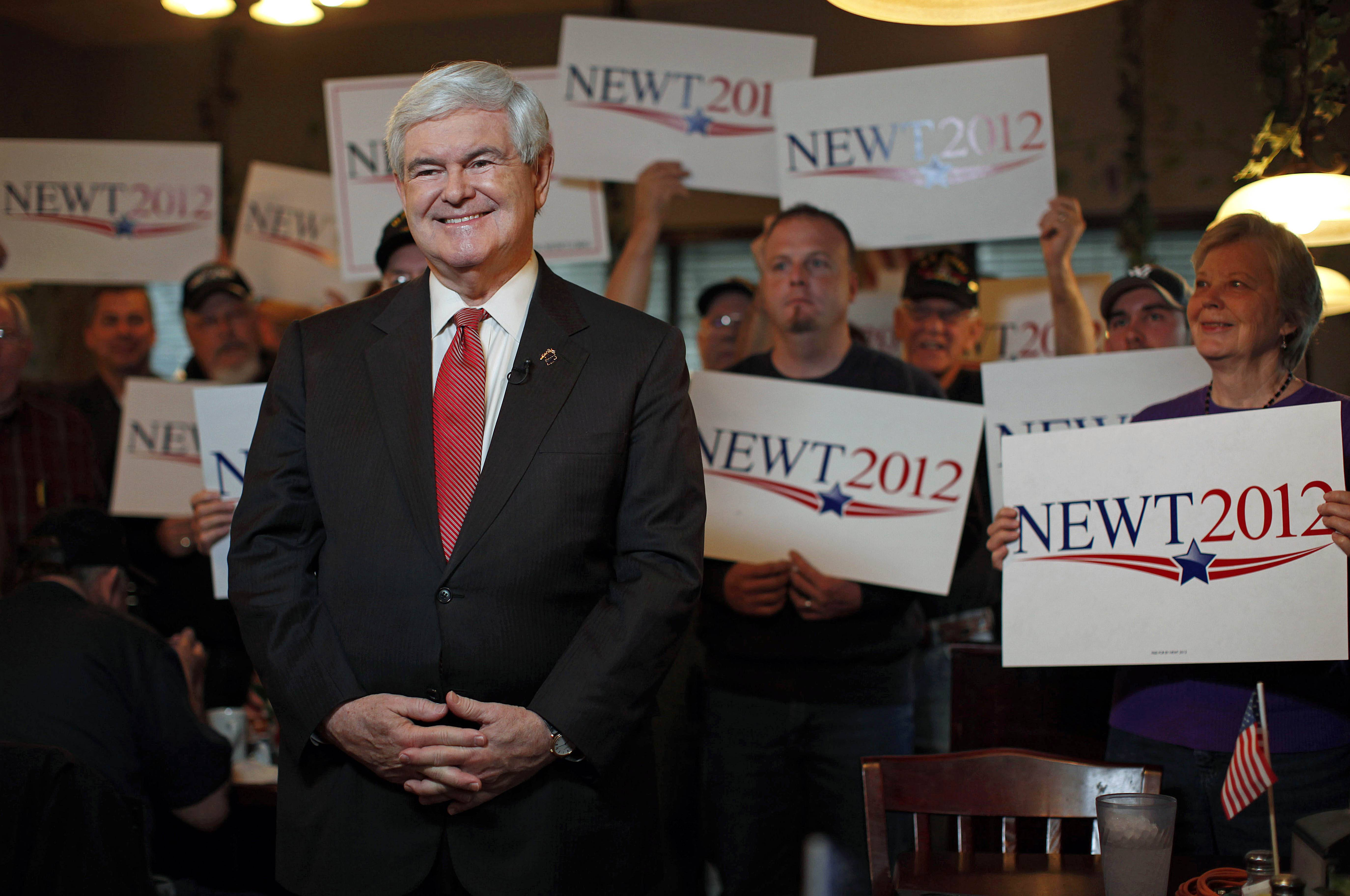 Exit polls in South Carolina show Newt Gingrich leading.