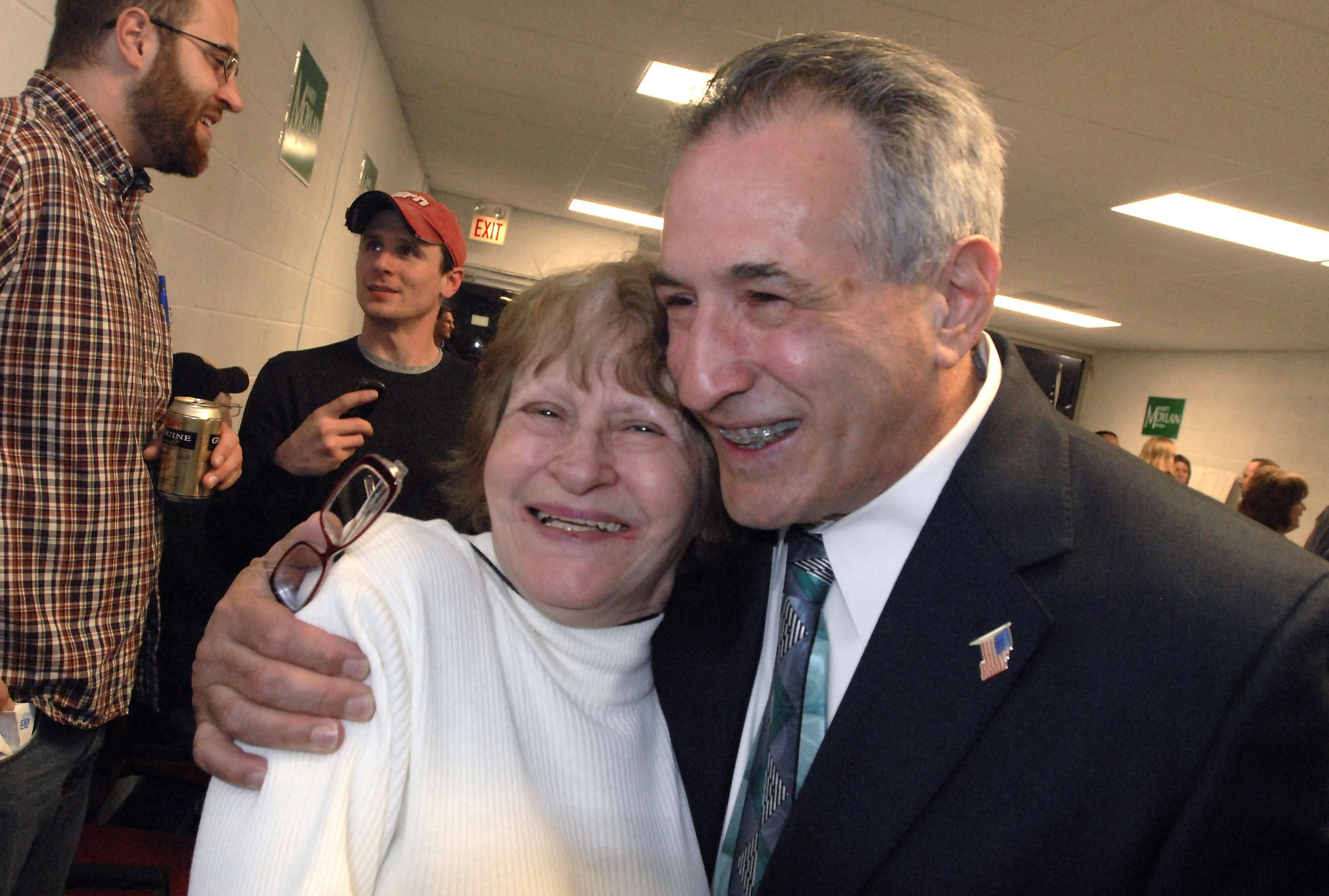 Des Plaines Mayor Marty Moylan hugs his mother Shirley Moylan of Arlington Heights after he was elected in 2009.